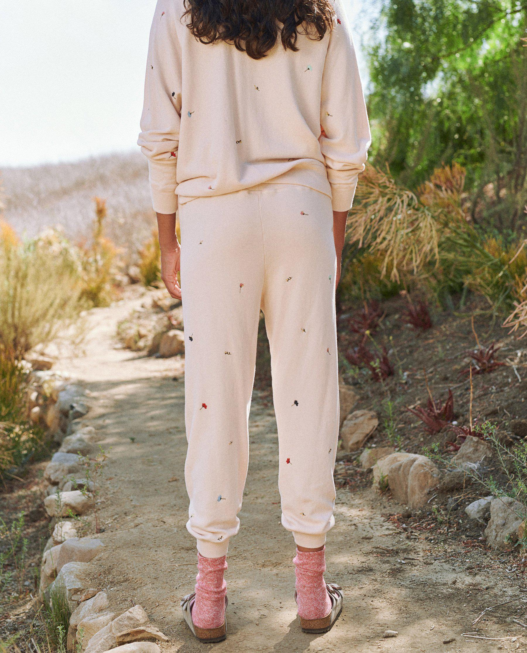 The Cropped Sweatpant. Embroidered -- Whisper Pink with Tossed Floral Embroidery 3