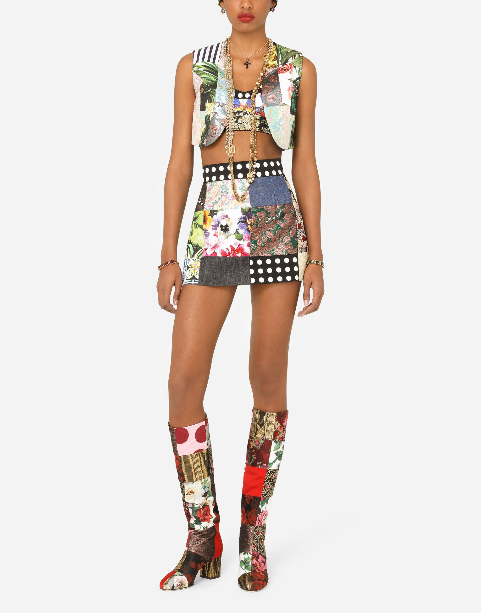 Patchwork drill and brocade jacquard bustier top 4