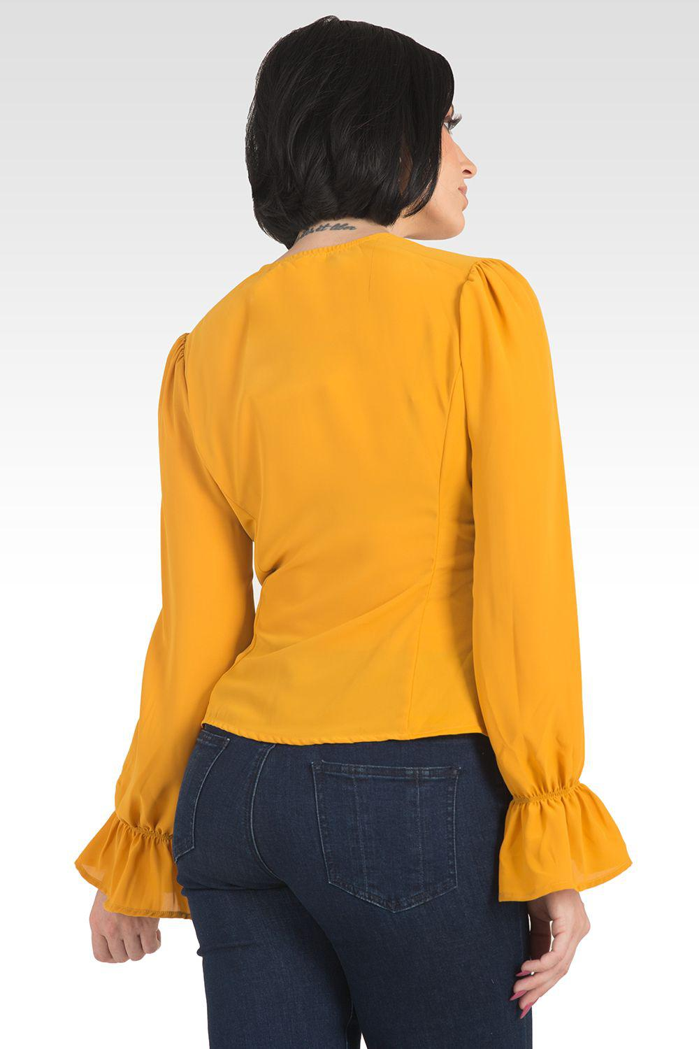 Vera Solid Tie Front Flute Sleeve Blouse - Ginger 2
