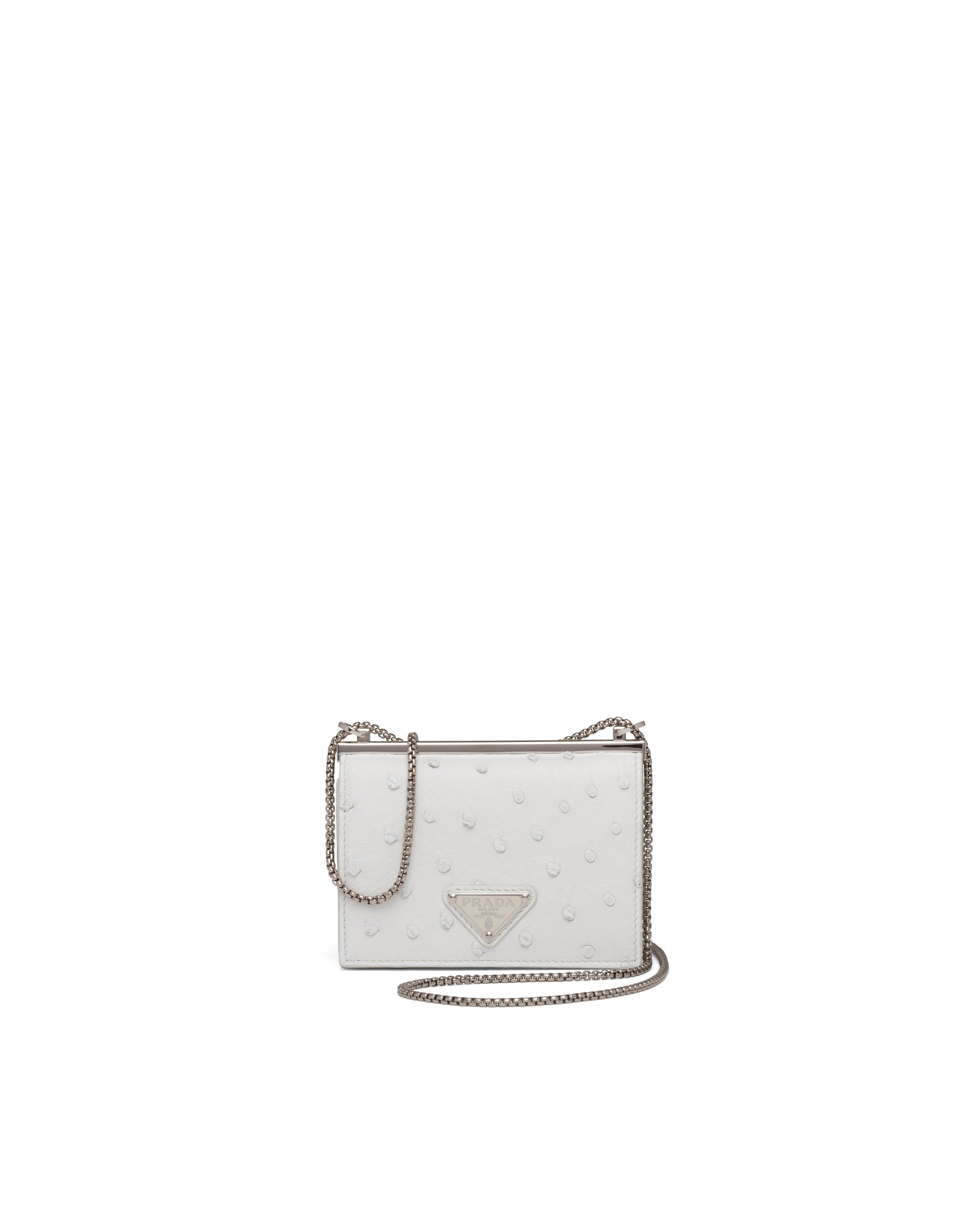 Ostrich Leather Card Holder With Shoulder Strap Women White 4