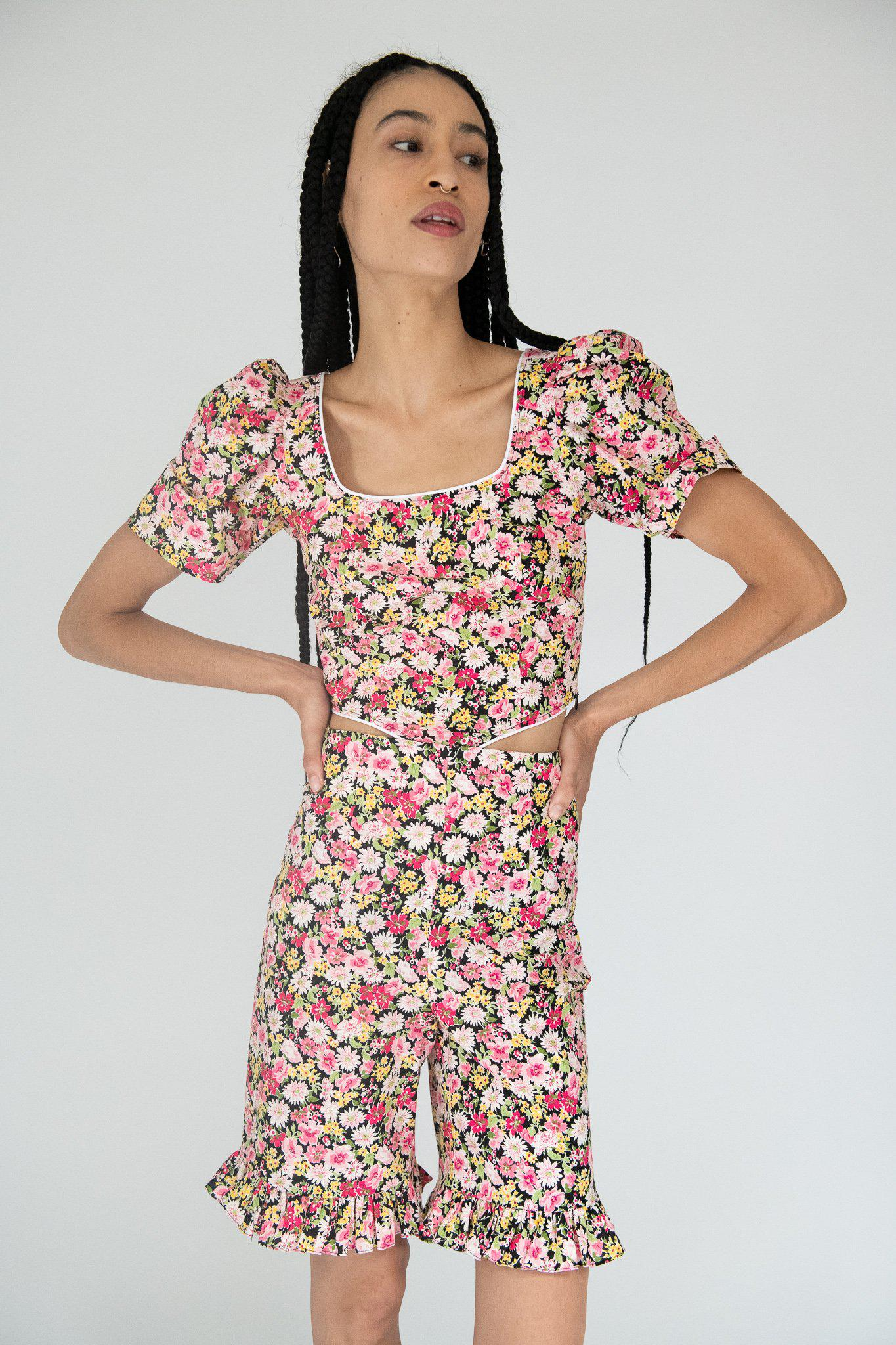 Ruffle Short in Pink Floral