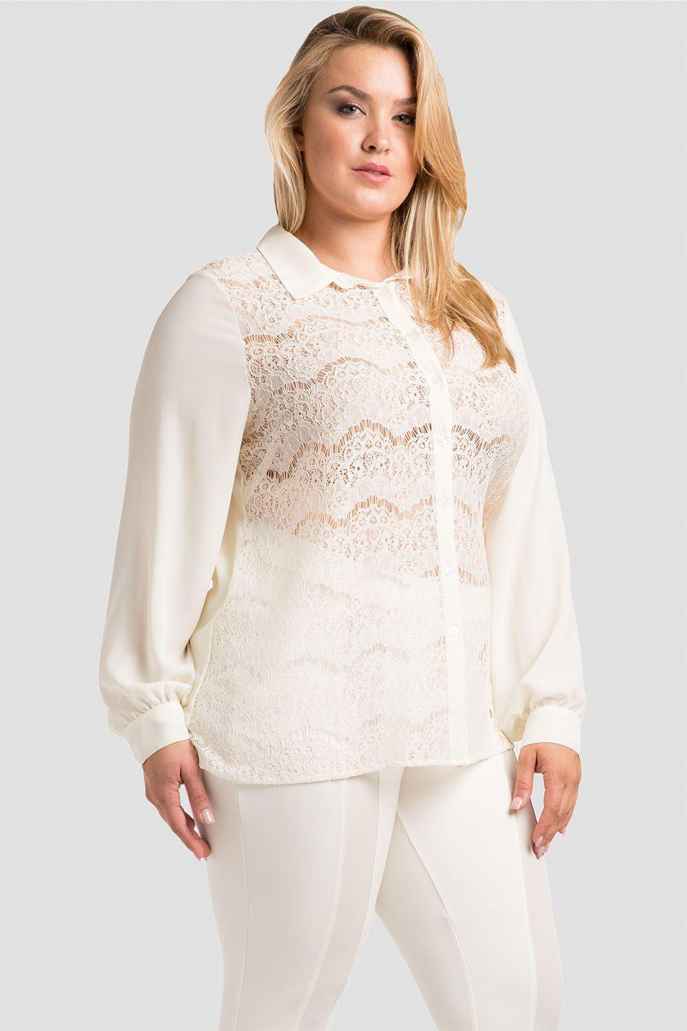 Plus Size Coco Ivory Lace Collared Shirt