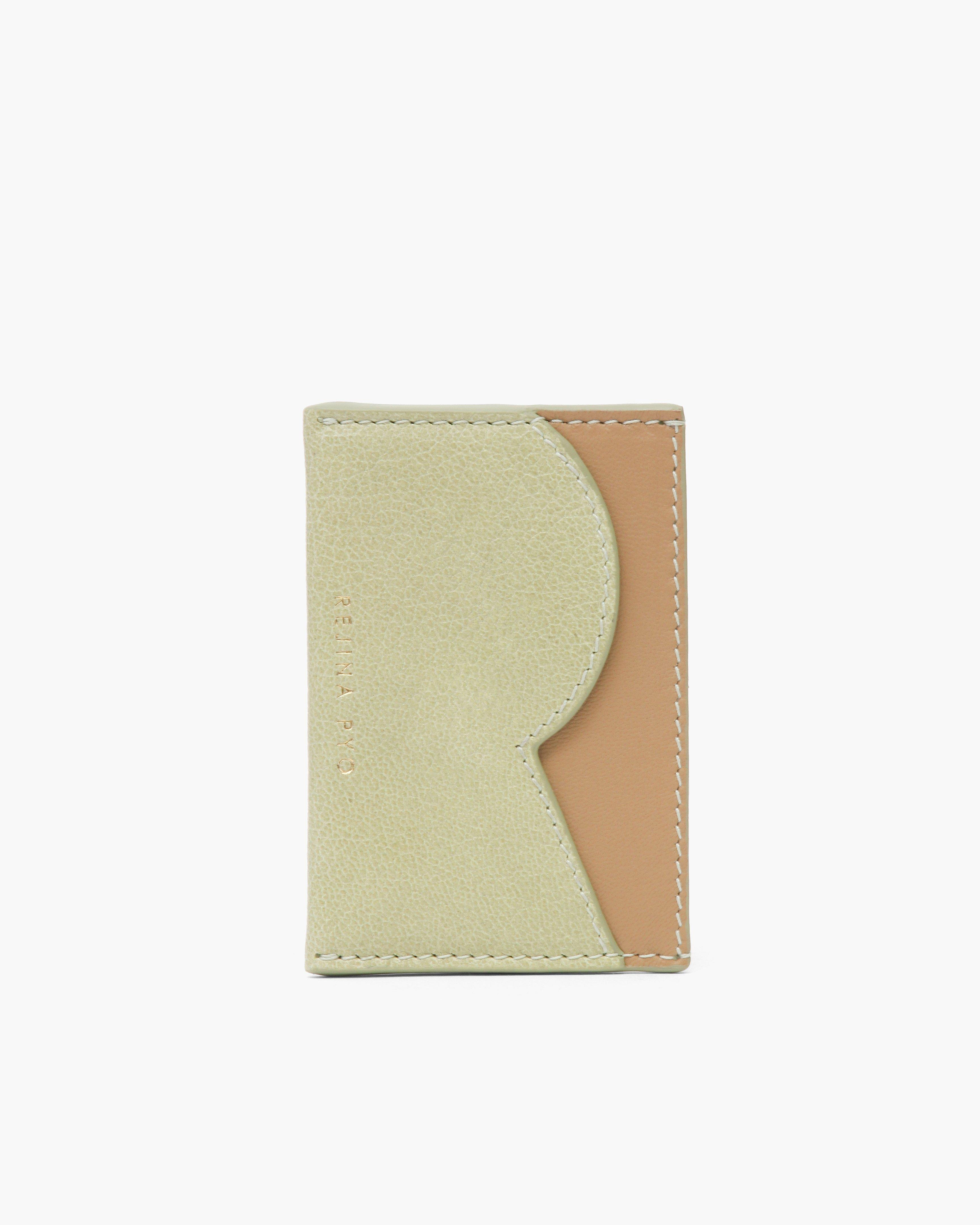 RP Card Holder Leather Citrus Green + Nappa Almond