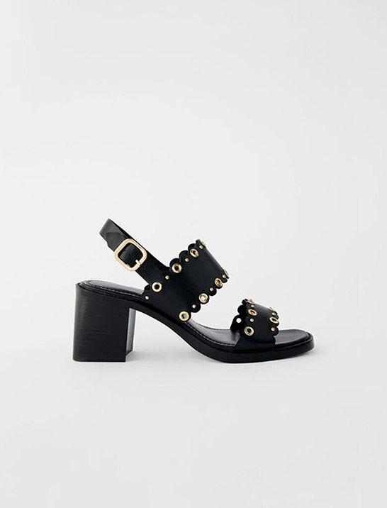 HIGH-HEELED LEATHER SANDALS WITH EYELETS