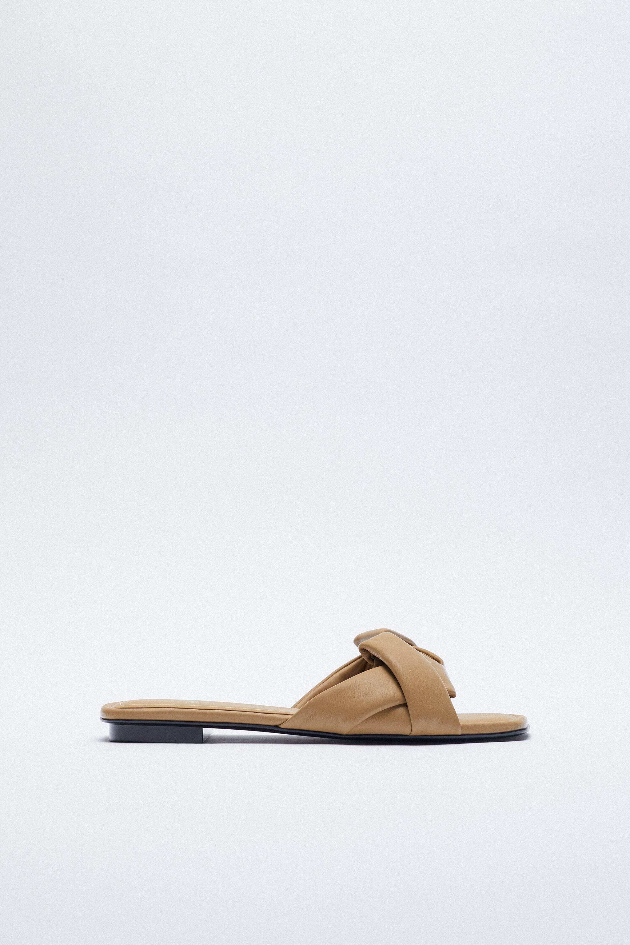 WOVEN FLAT LEATHER SANDALS