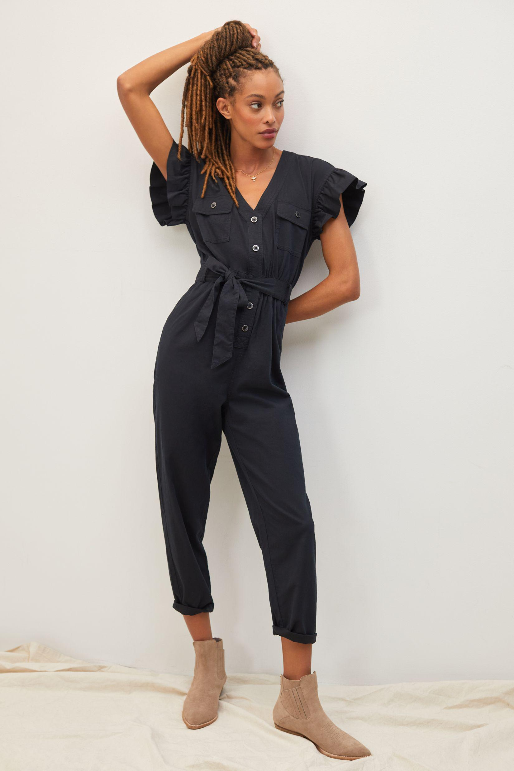 Tapered Ruffle Jumpsuit
