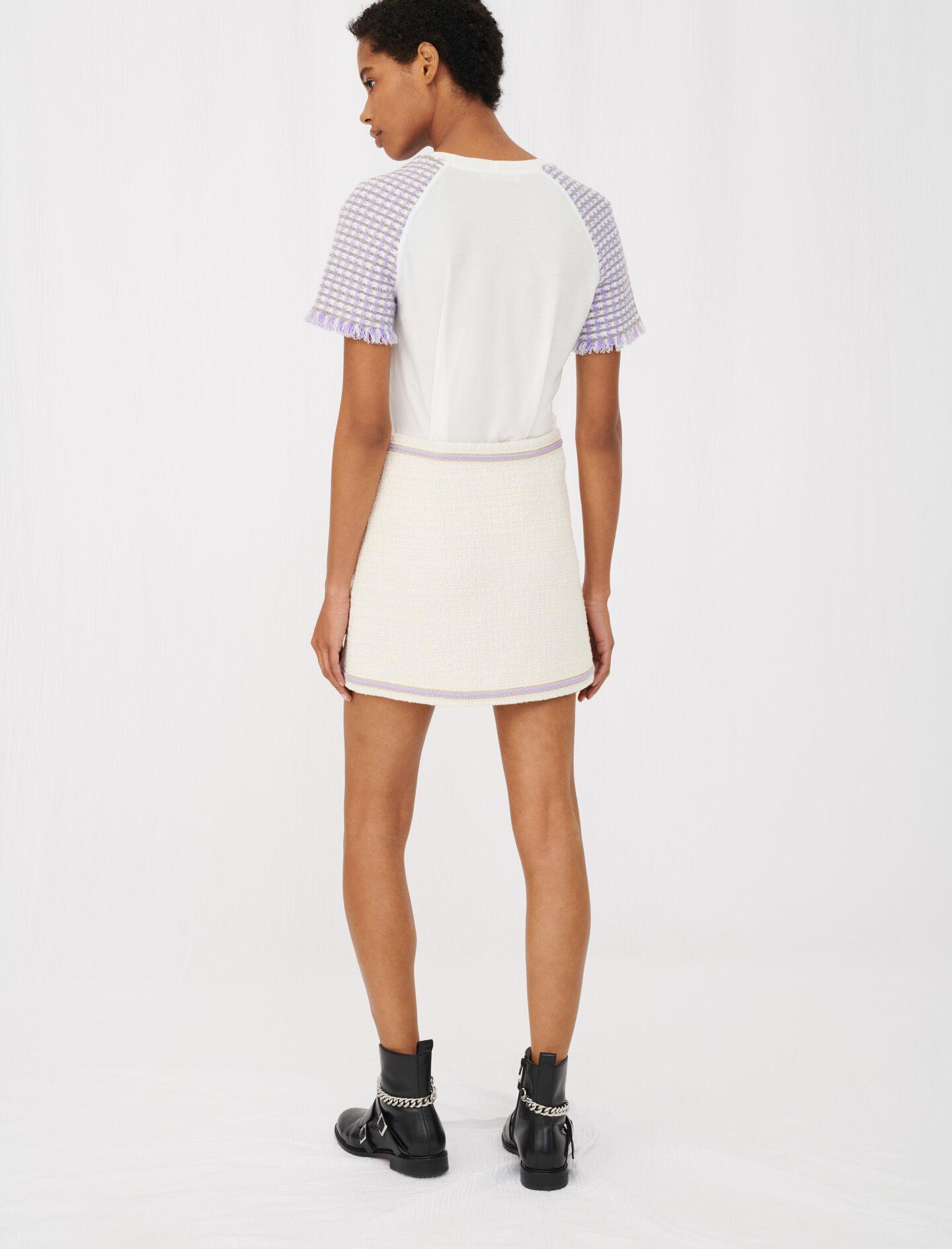 JERSEY T-SHIRT WITH TWEED SLEEVES 3