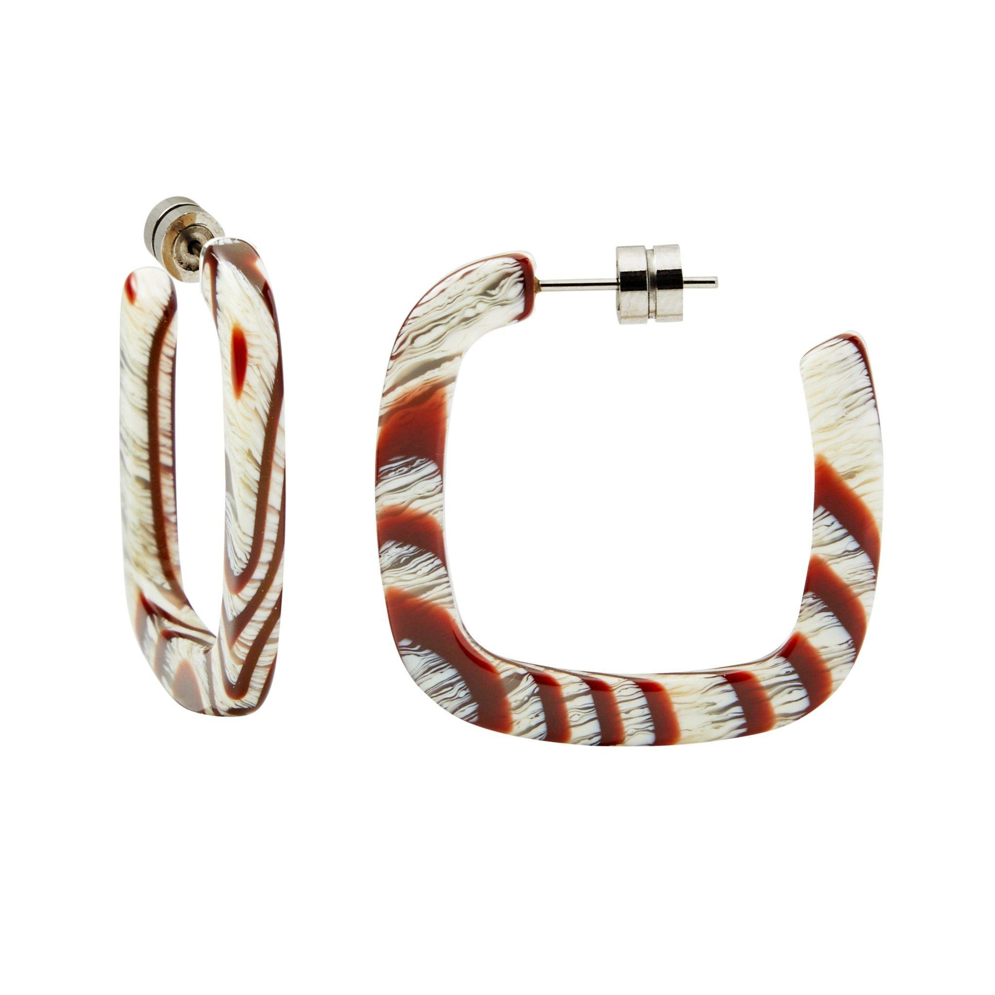 Midi Square Hoops in Canyon Brown