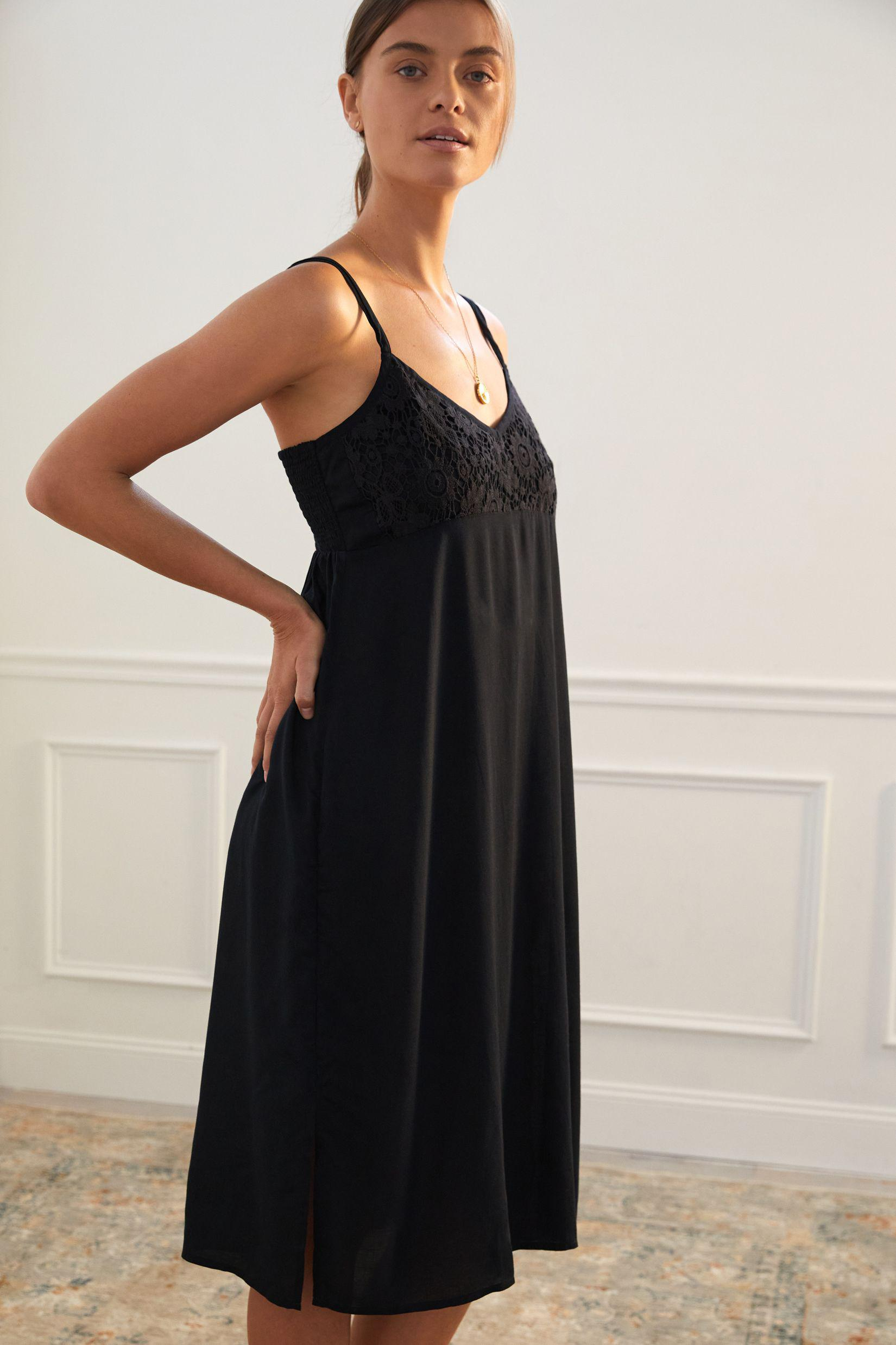 Lace-Accented Slip Dress