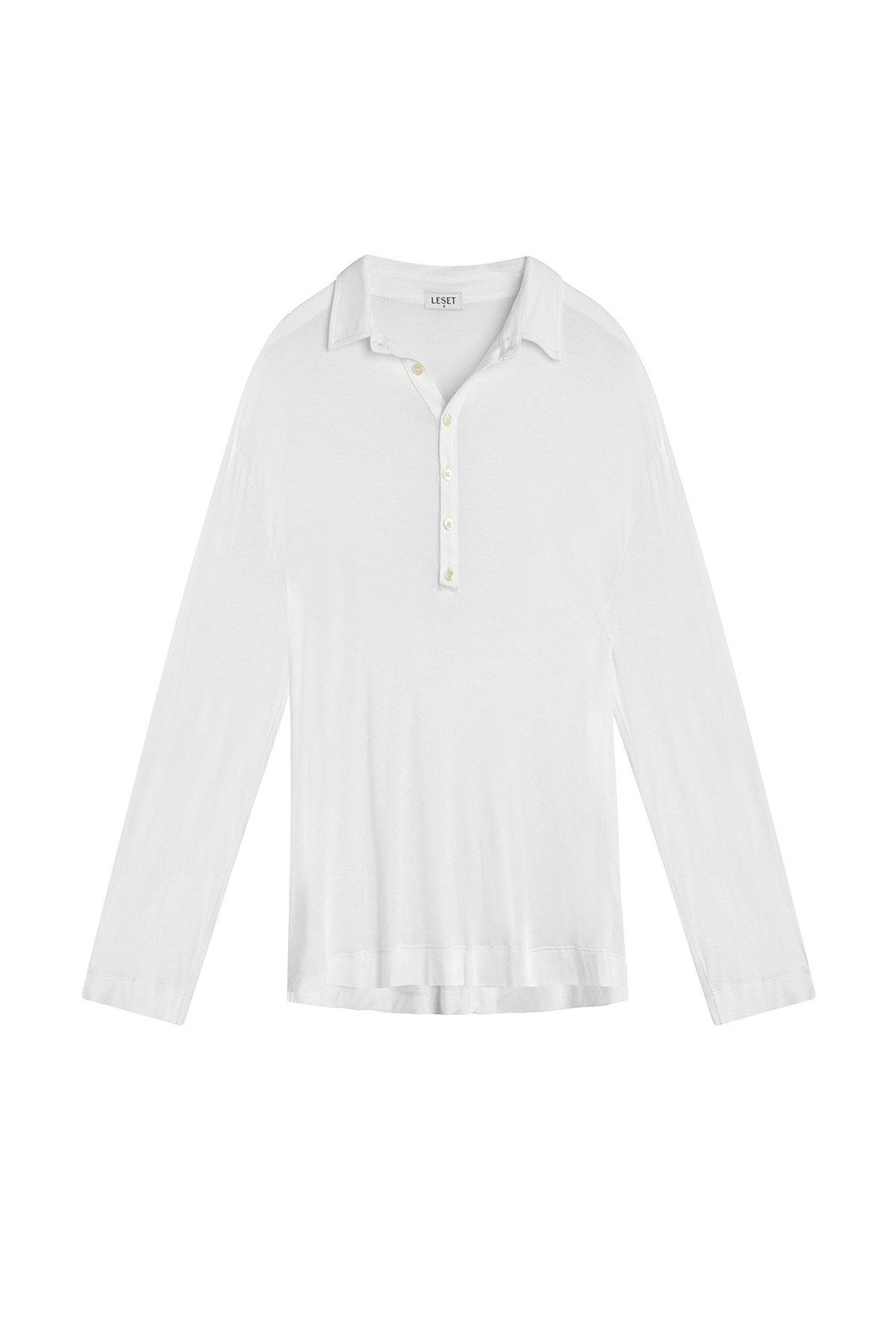 Nora Nuit Half Button Up - White 3