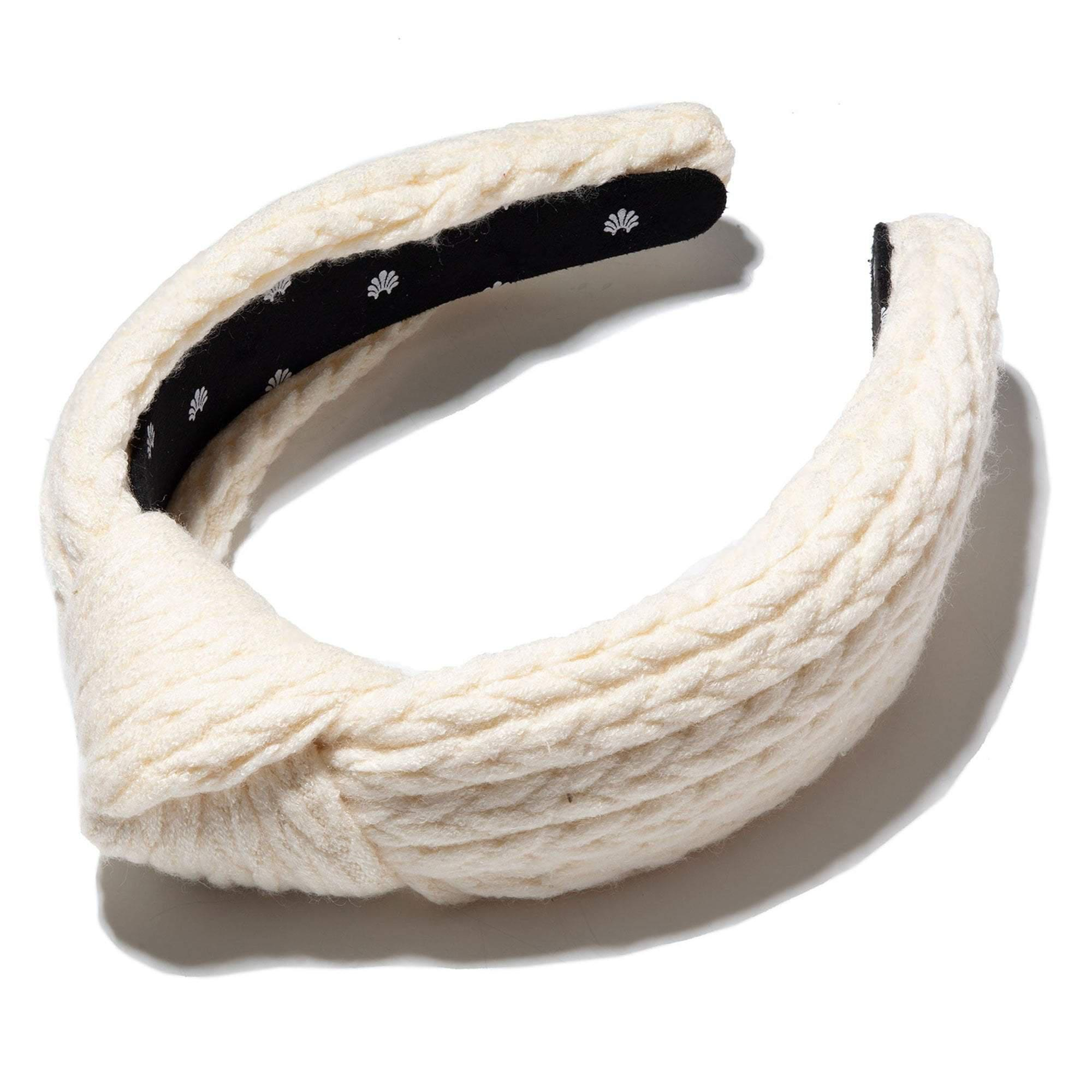 IVORY CABLE KNIT KNOTTED HEADBAND