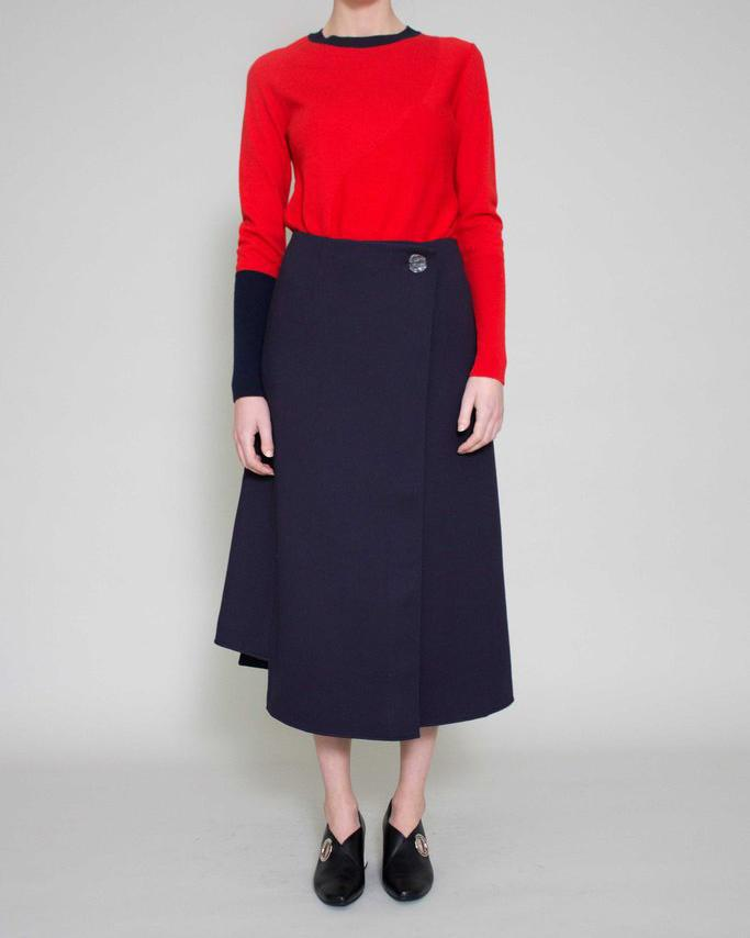 Marianna Long Wrap Skirt Navy - SPECIAL PRICE