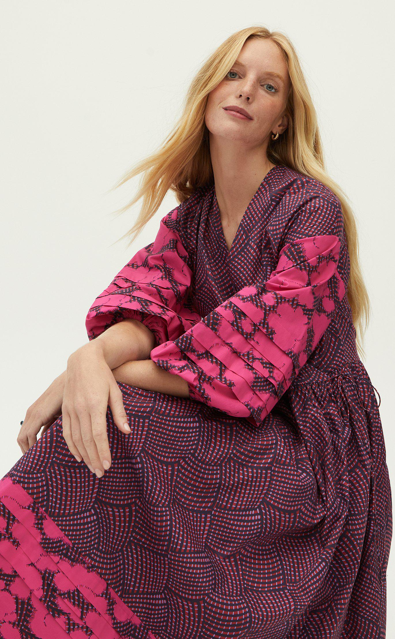Constance Dress   Woven Geo Red