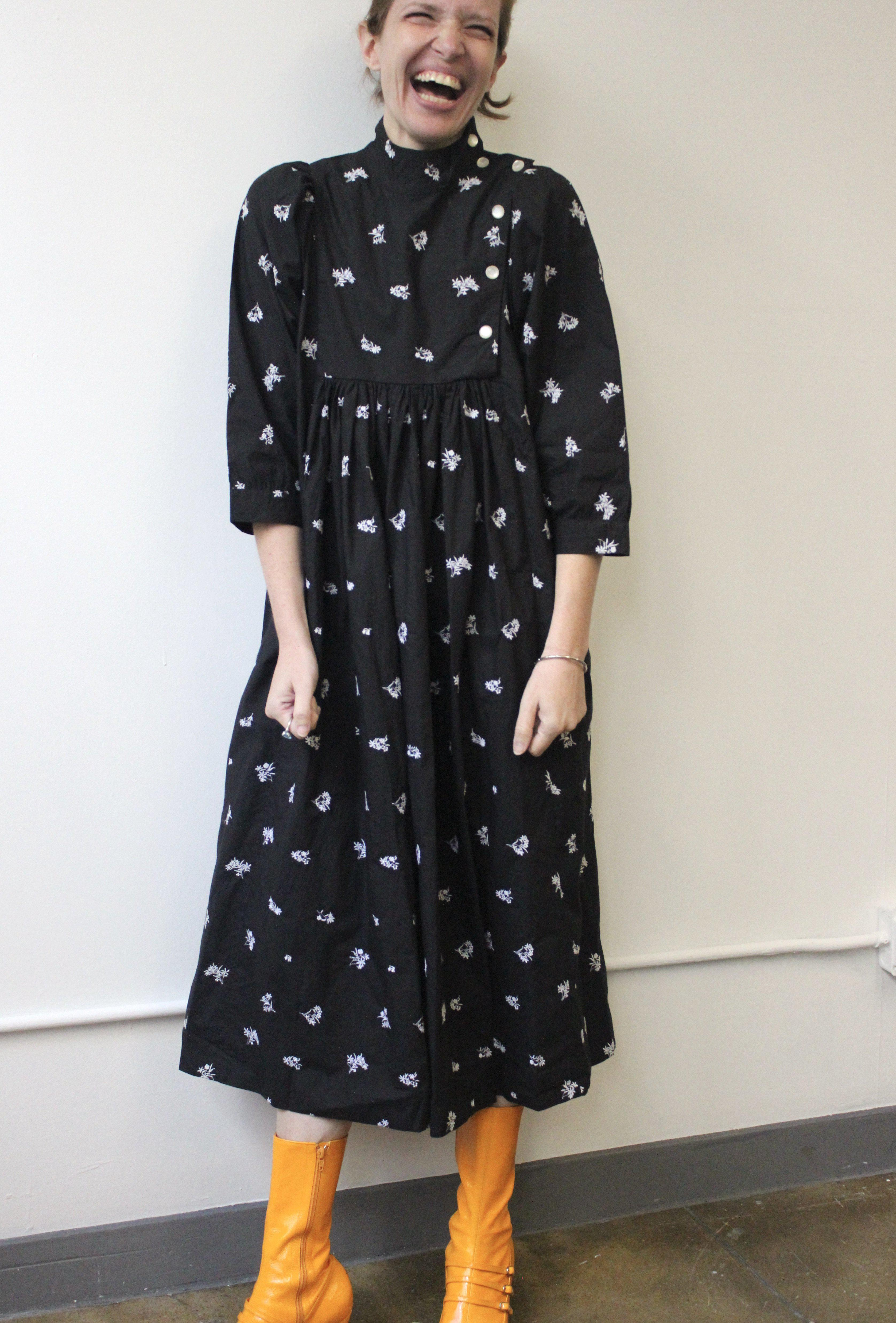 Smock Dress in Black Embroidered Cotton 6