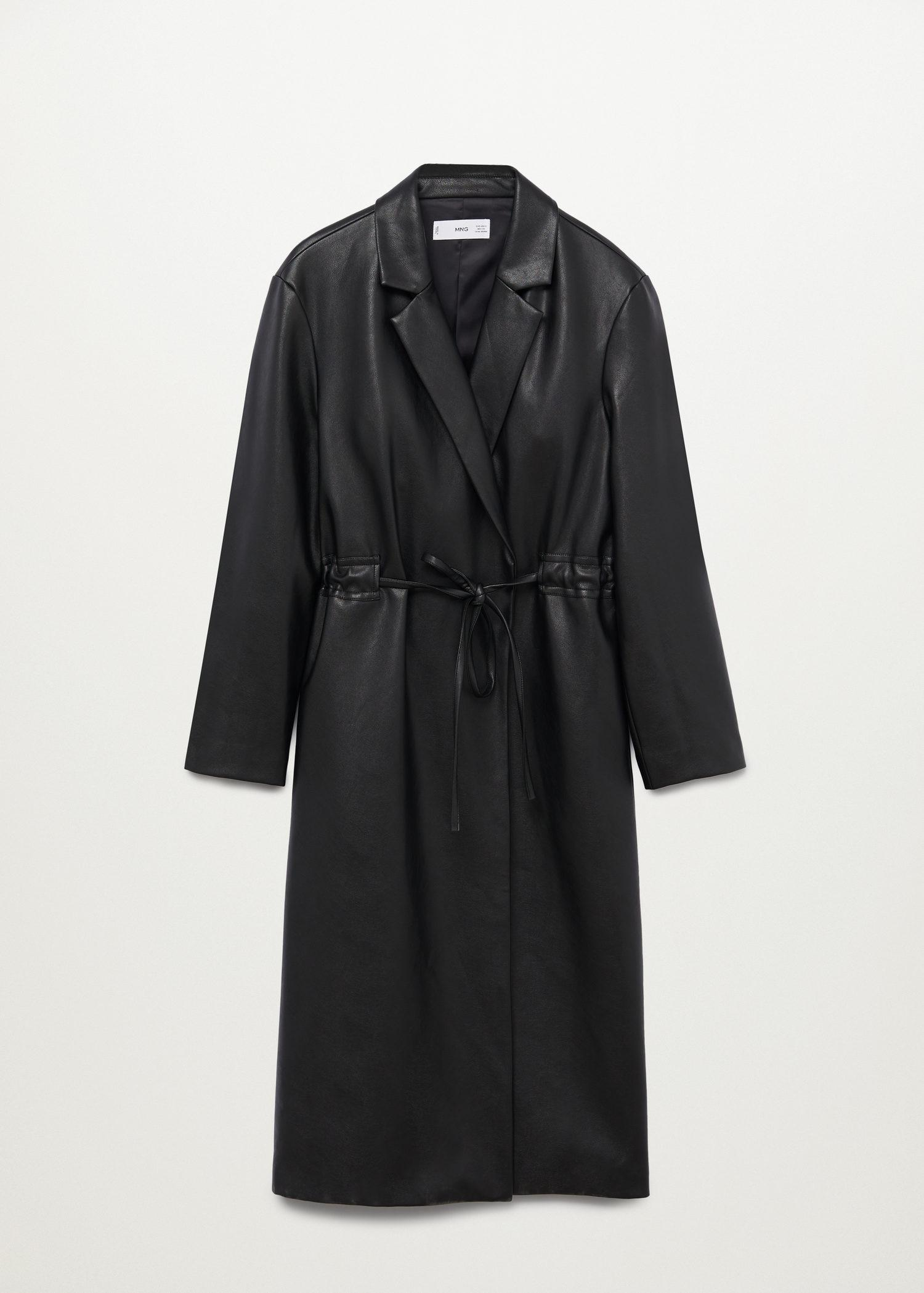 Leather-effect coat with belt 10