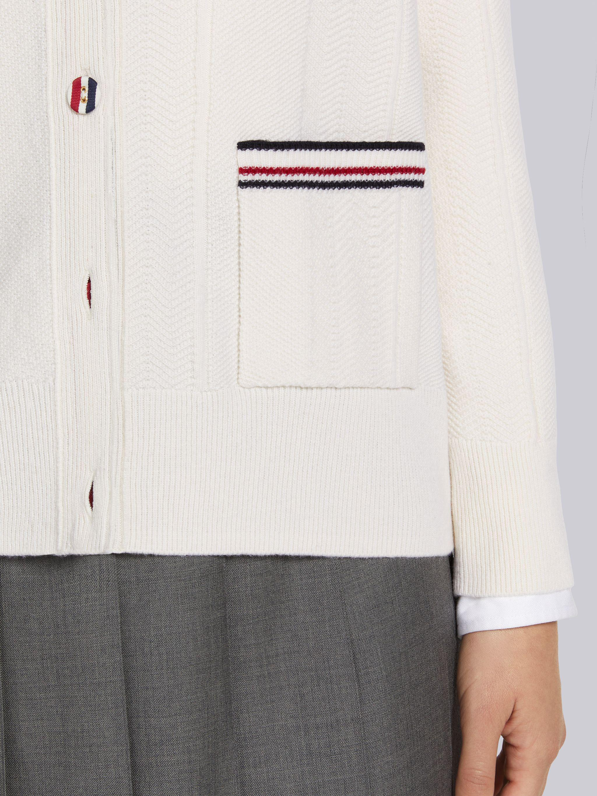 White Mixed Stitch Fine Merino Wool Stripe Button Relaxed Fit V-Neck Cardigan 5