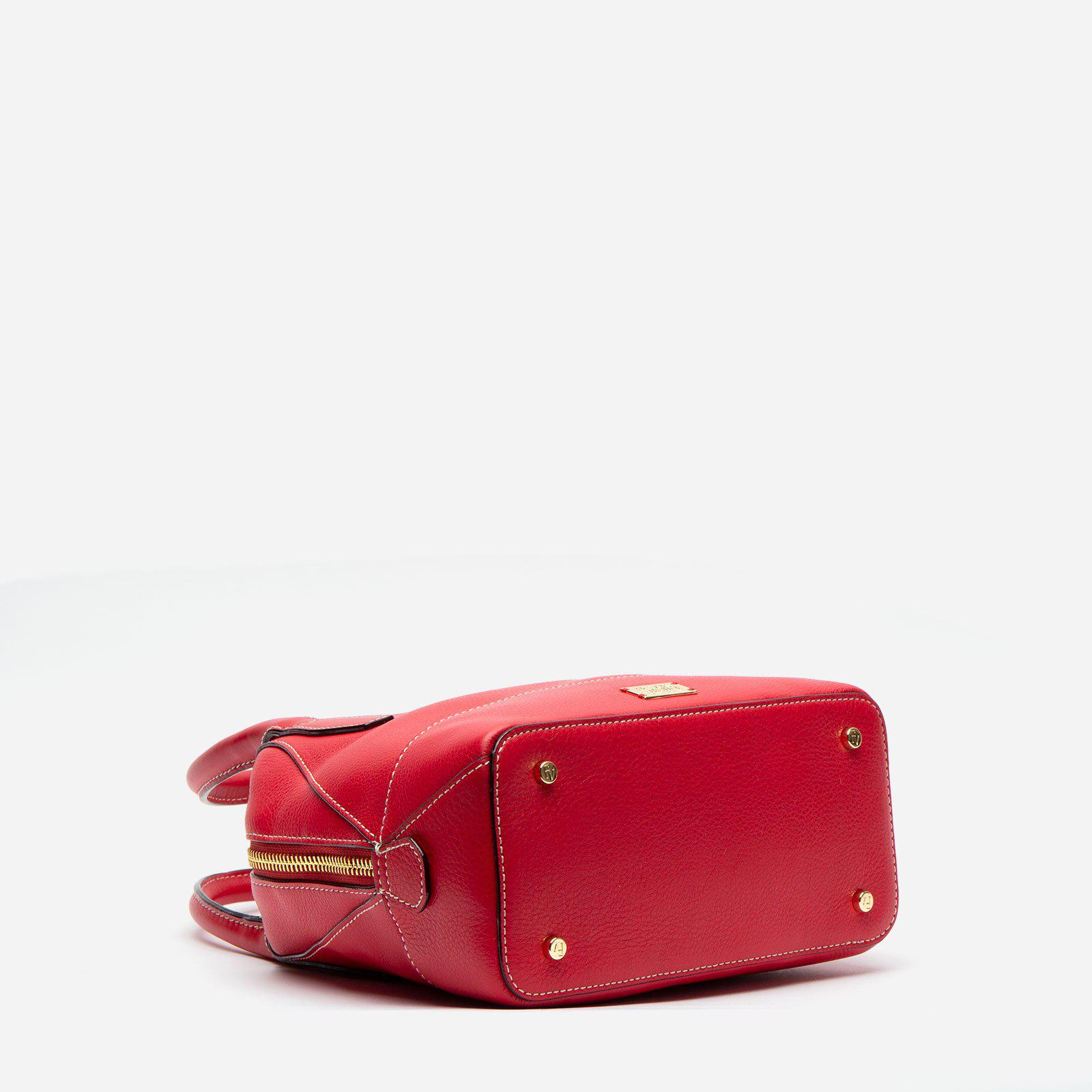 Small Abby Tote Tumbled Leather Red 3