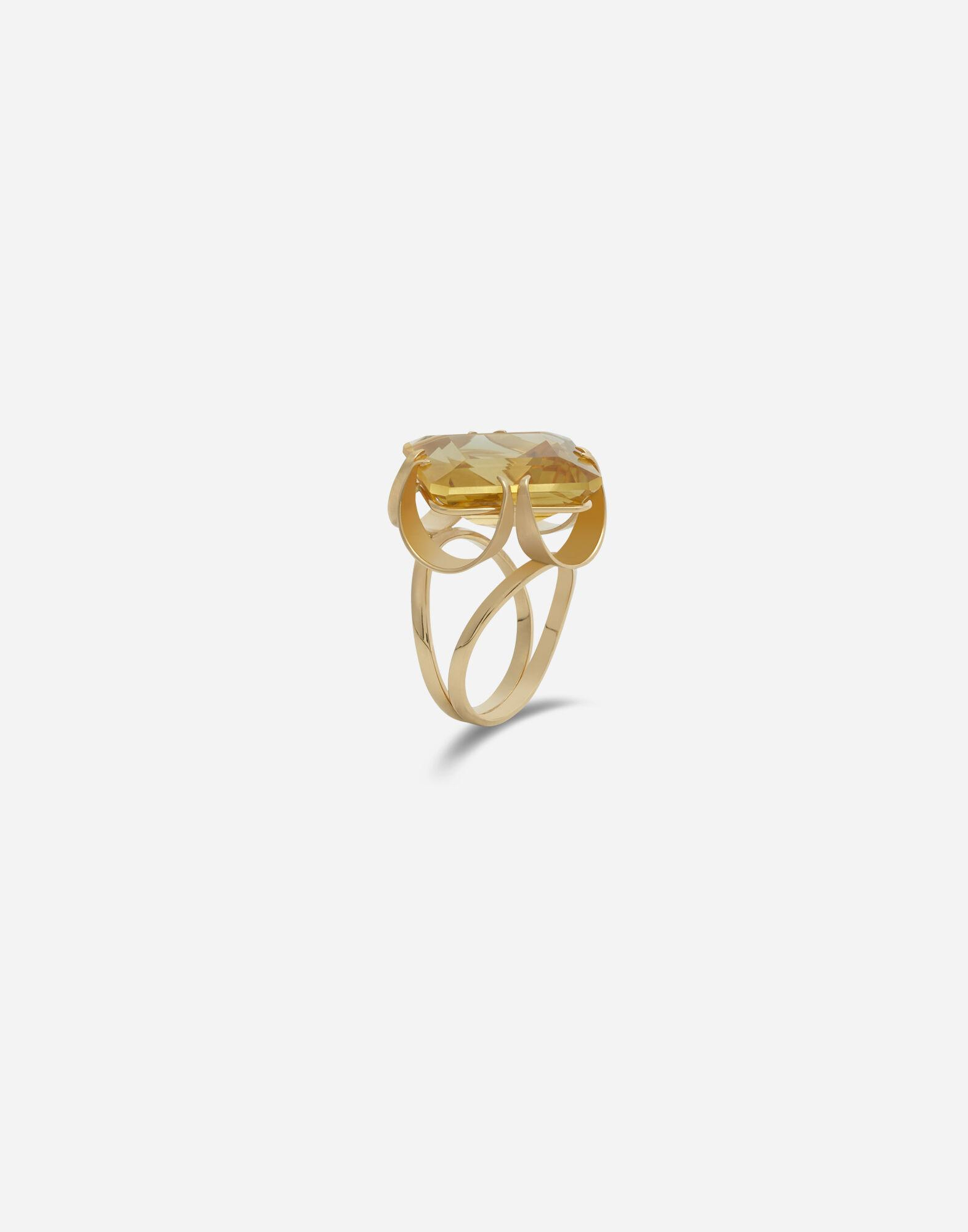 Anna ring in yellow gold and citrine quartz 1