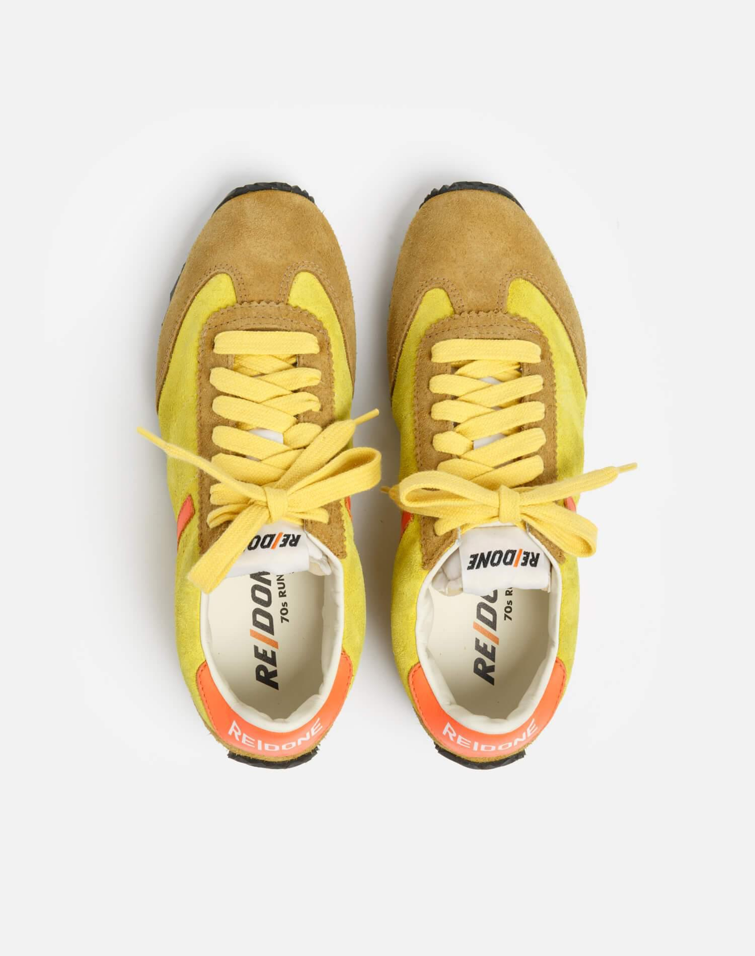 70s Runner Shoe - Lemon and Tan and Orange Suede 2