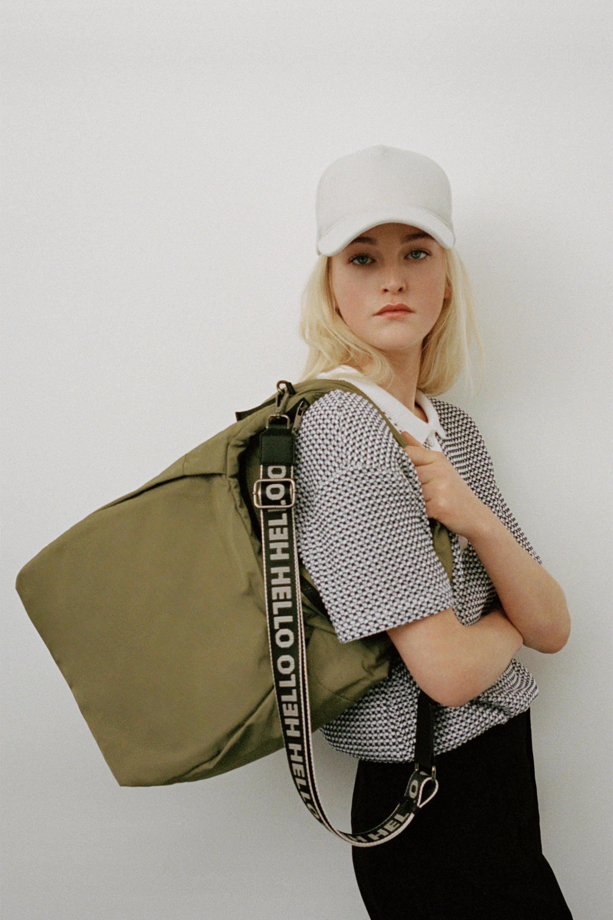 NYLON TOTE BAG WITH TEXT DETAIL