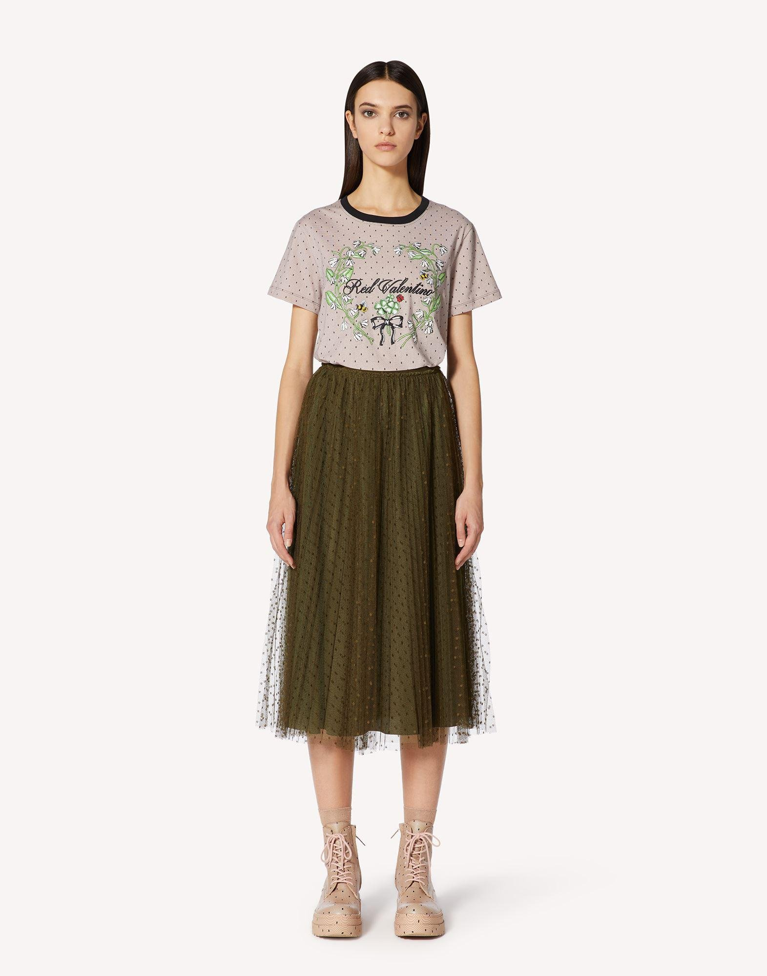 T-SHIRT WITH POINT D'ESPRIT AND FLORAL PRINT