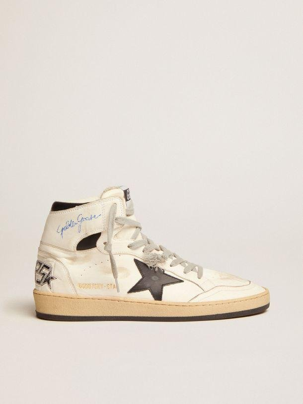 Sky-Star sneakers with signature on the ankle and black leather inserts