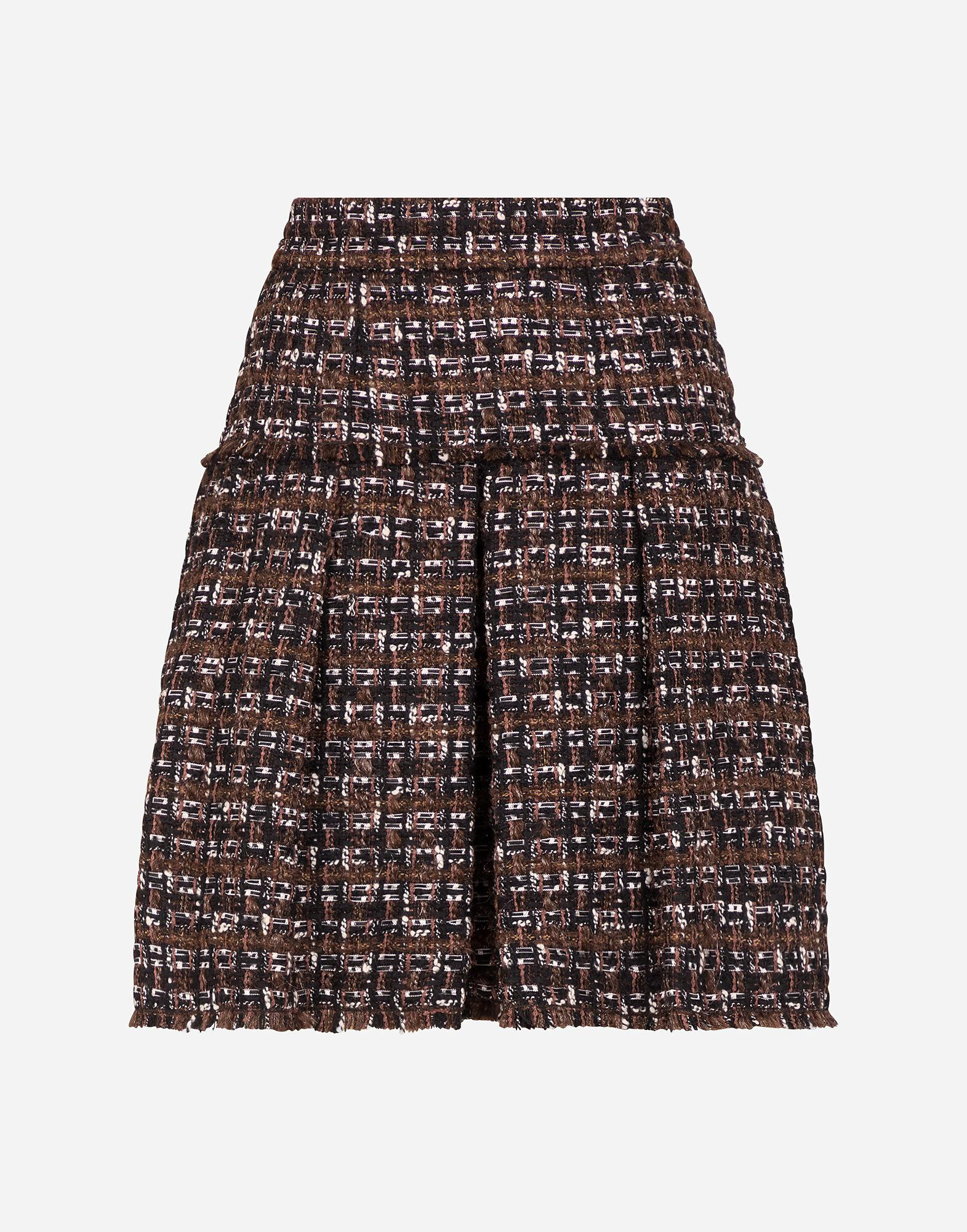 Short tweed circle skirt with flounce detailing 4