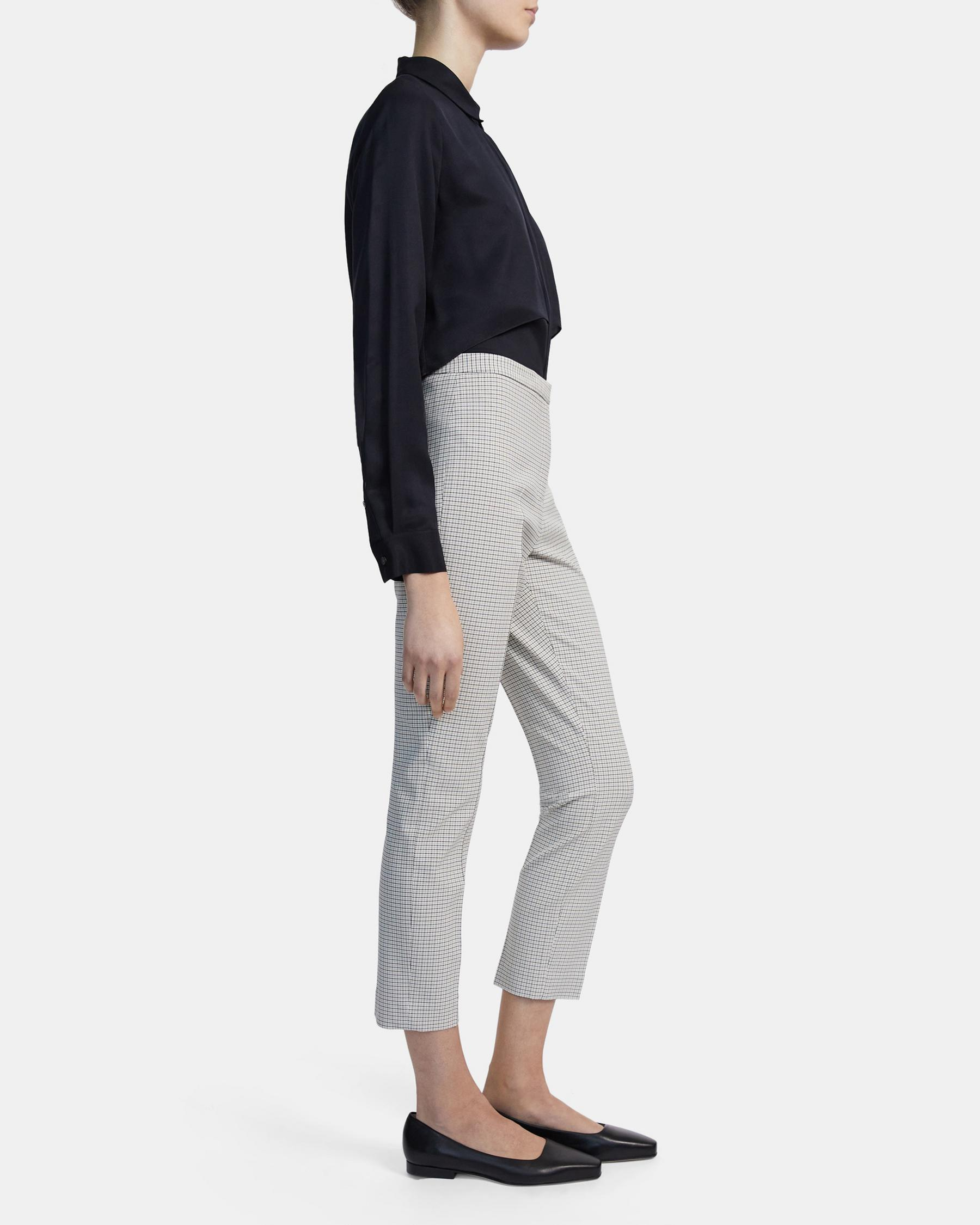 Skinny Pant in Check Stretch Viscose 1