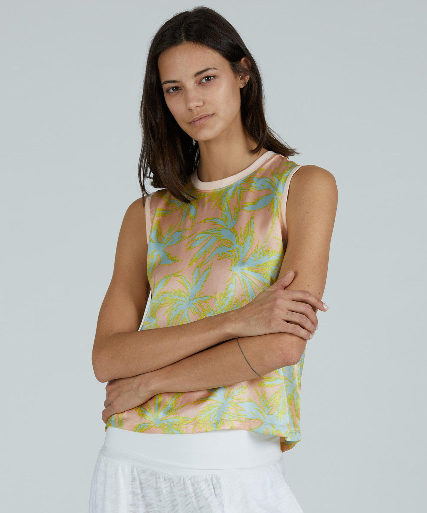 Palm Print Silk Charmeuse Cropped Muscle Tee - Shell Combo