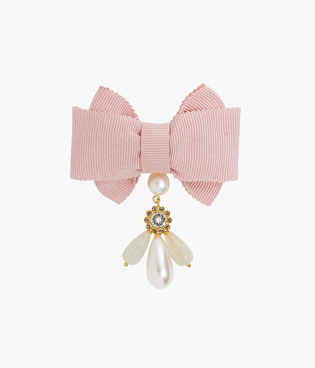 Crystal, Pearl and Bow Brooch Pink