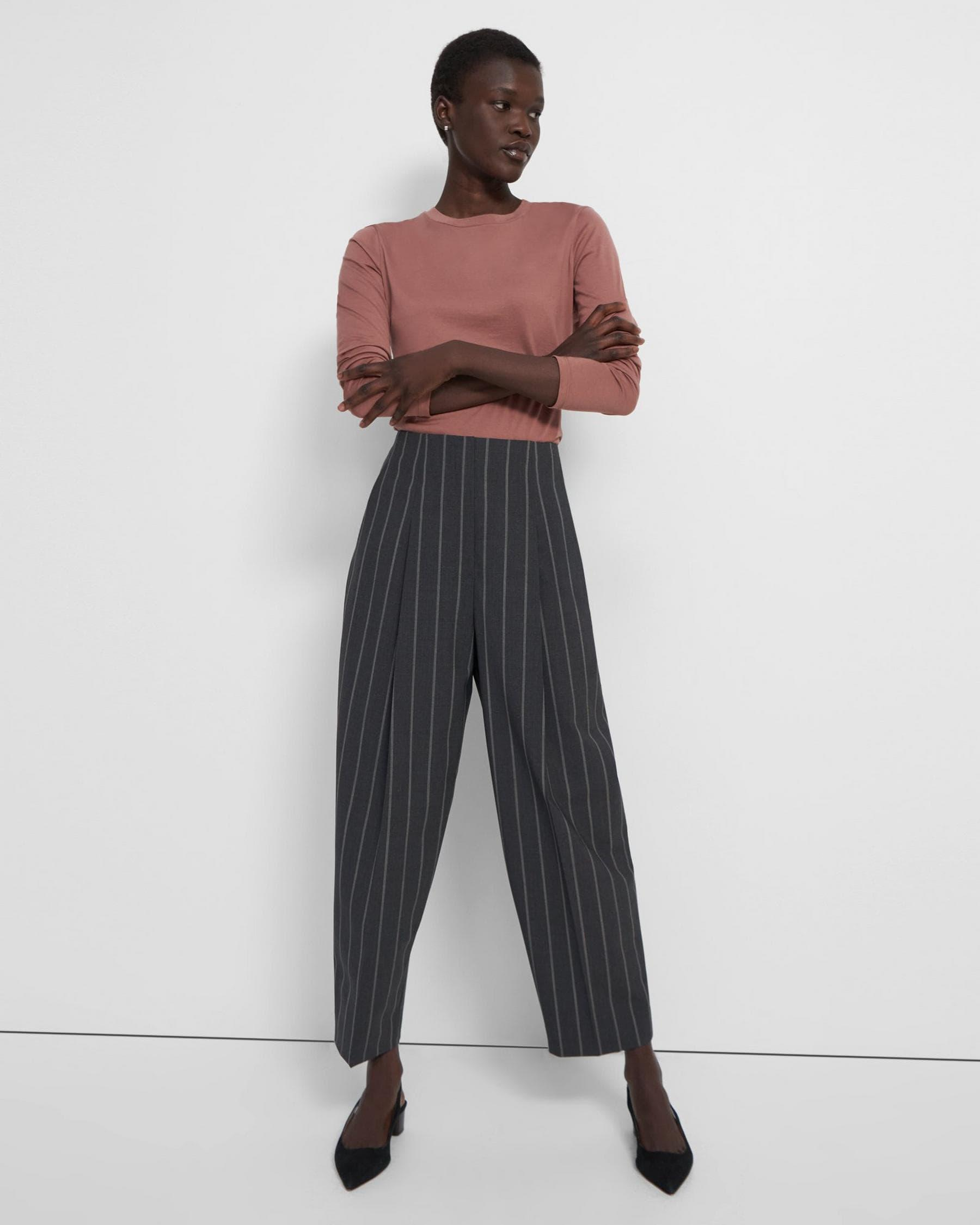 Pleated Carrot Pant in Striped Good Wool