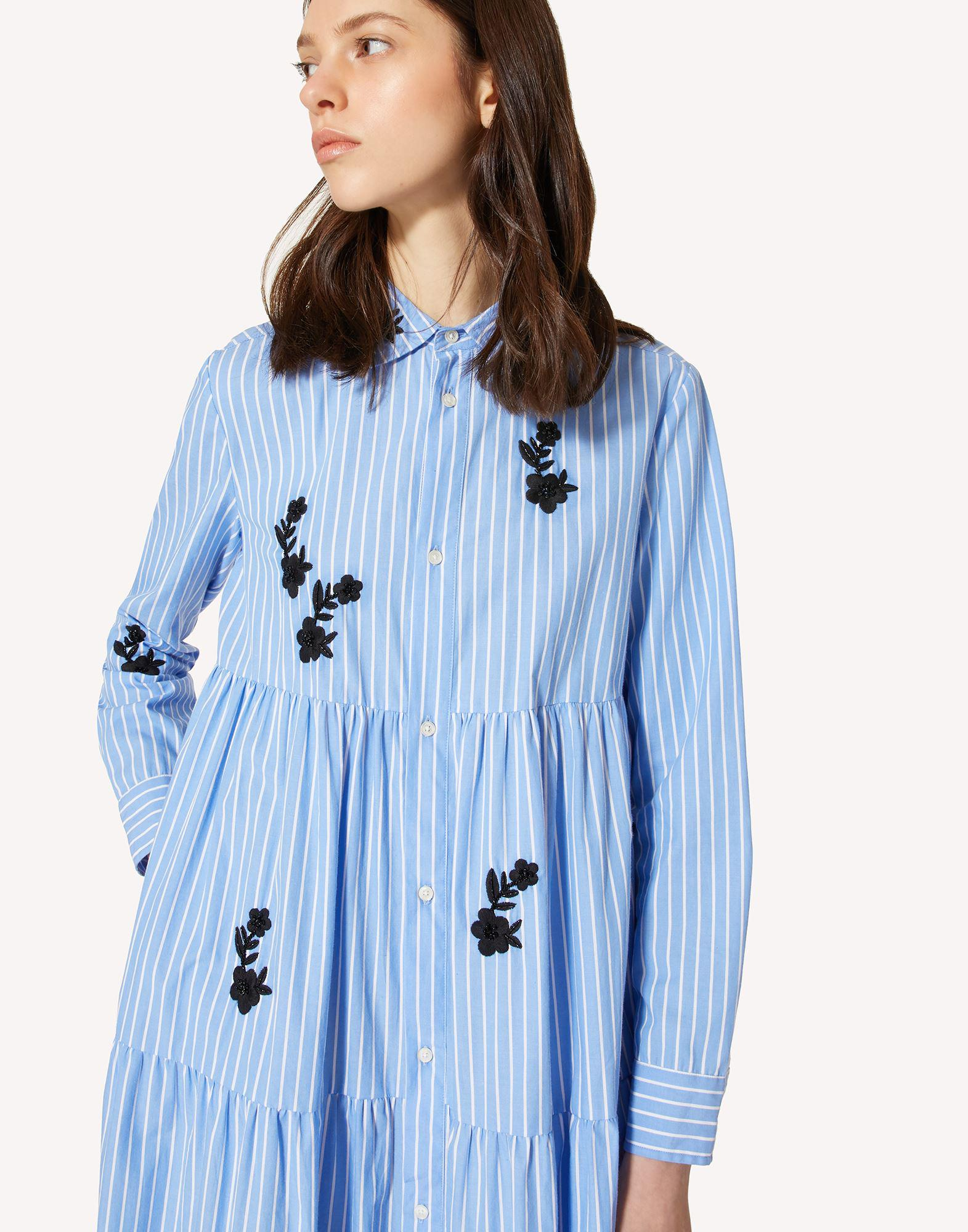 STRIPED COTTON DRESS WITH FLORAL EMBROIDERY 3