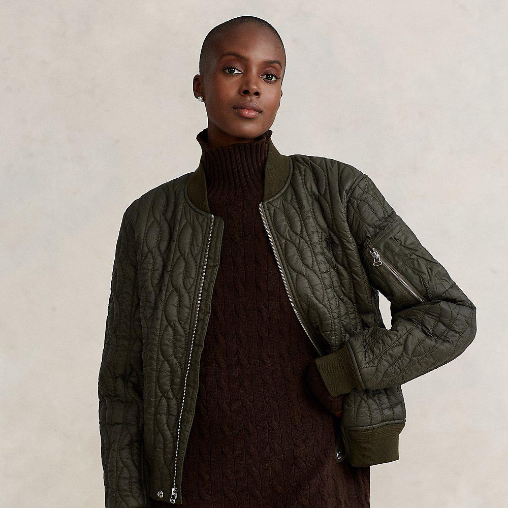 Cable-Quilted Bomber Jacket