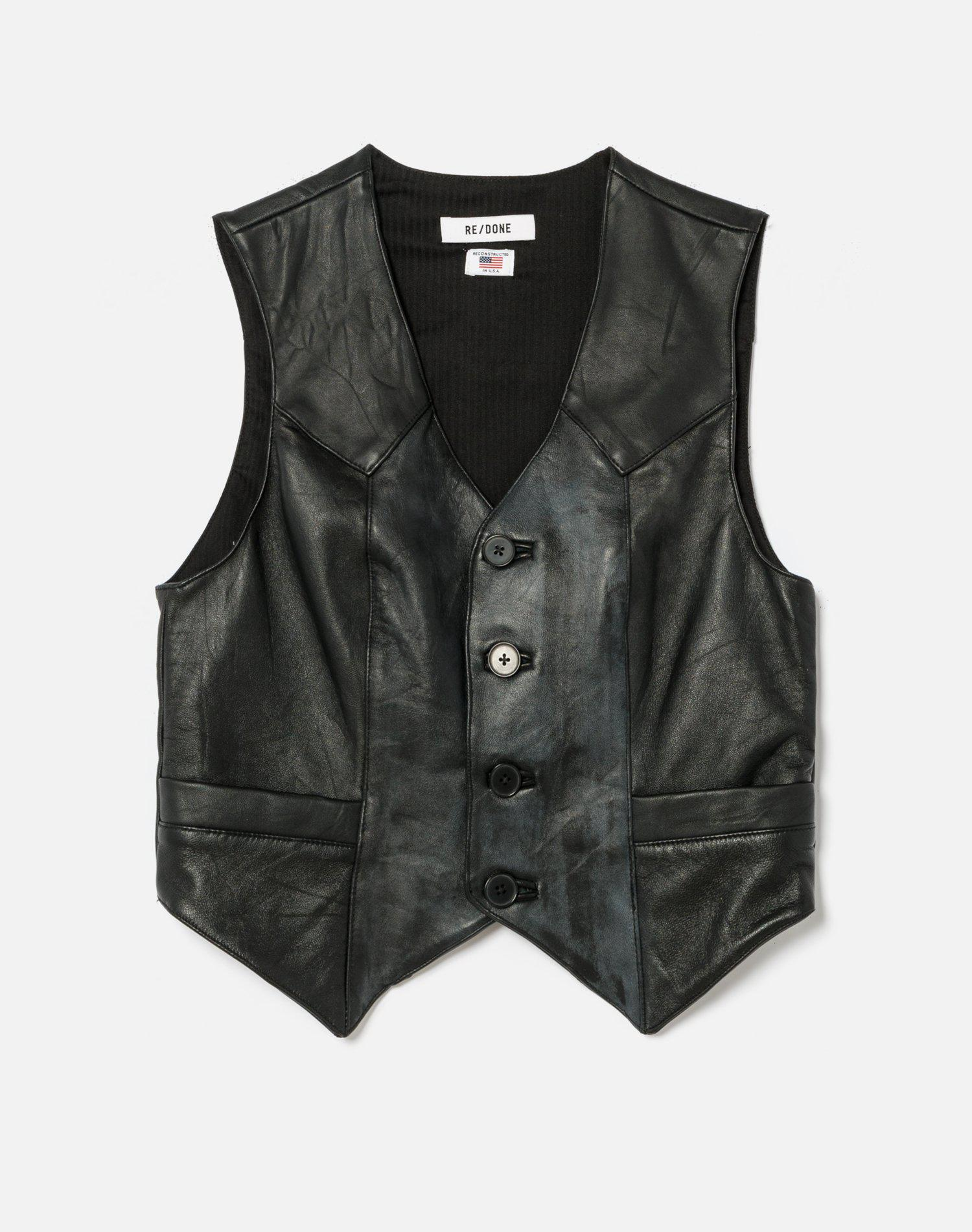 70s Upcycled Leather Vest 0