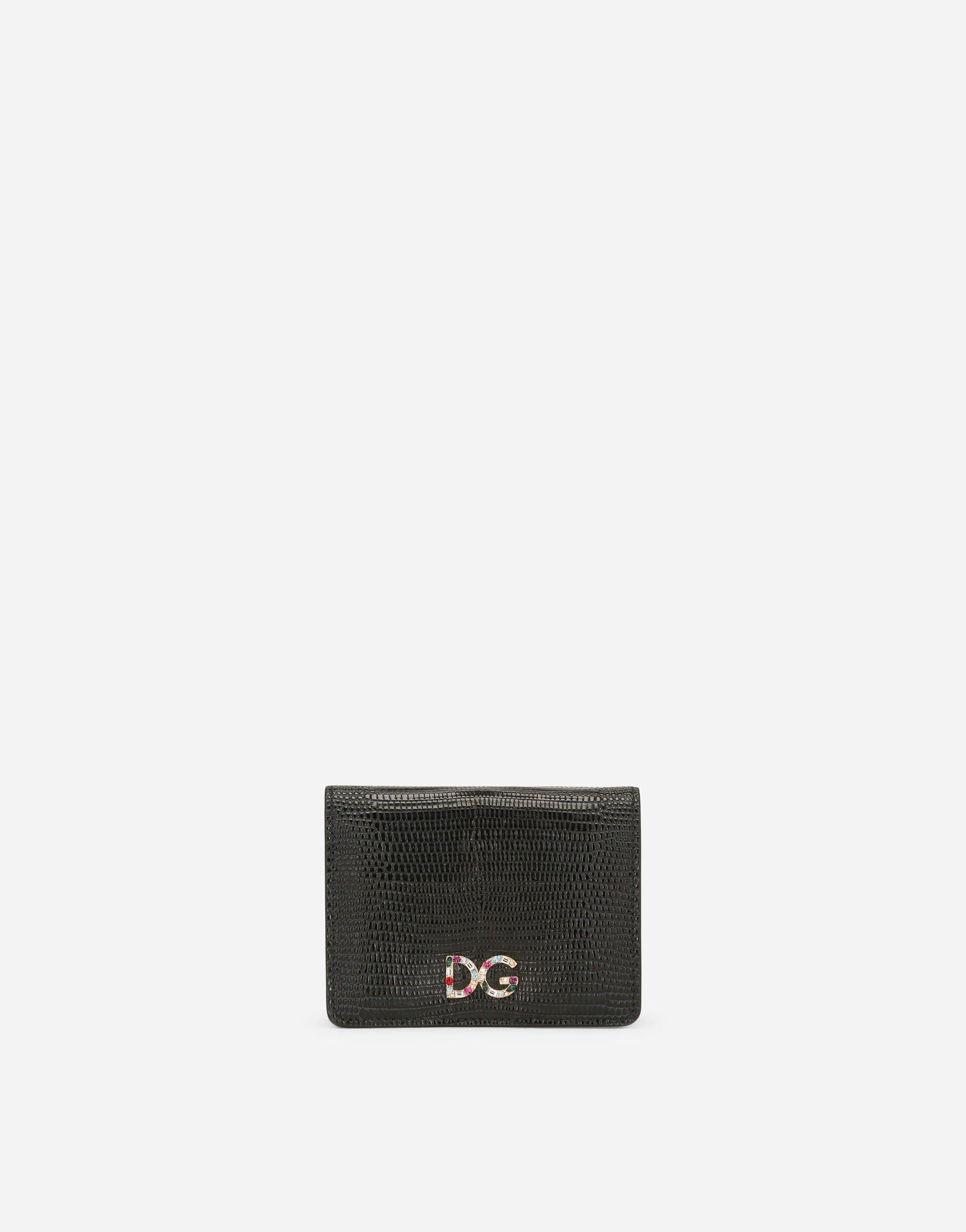 Small continental wallet in Dauphine calfskin with rhinestone-detailed DG logo 0