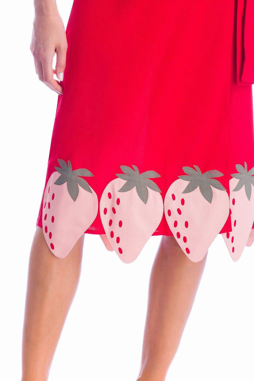 Solid Midi Skirt With Strawberry Detail 2
