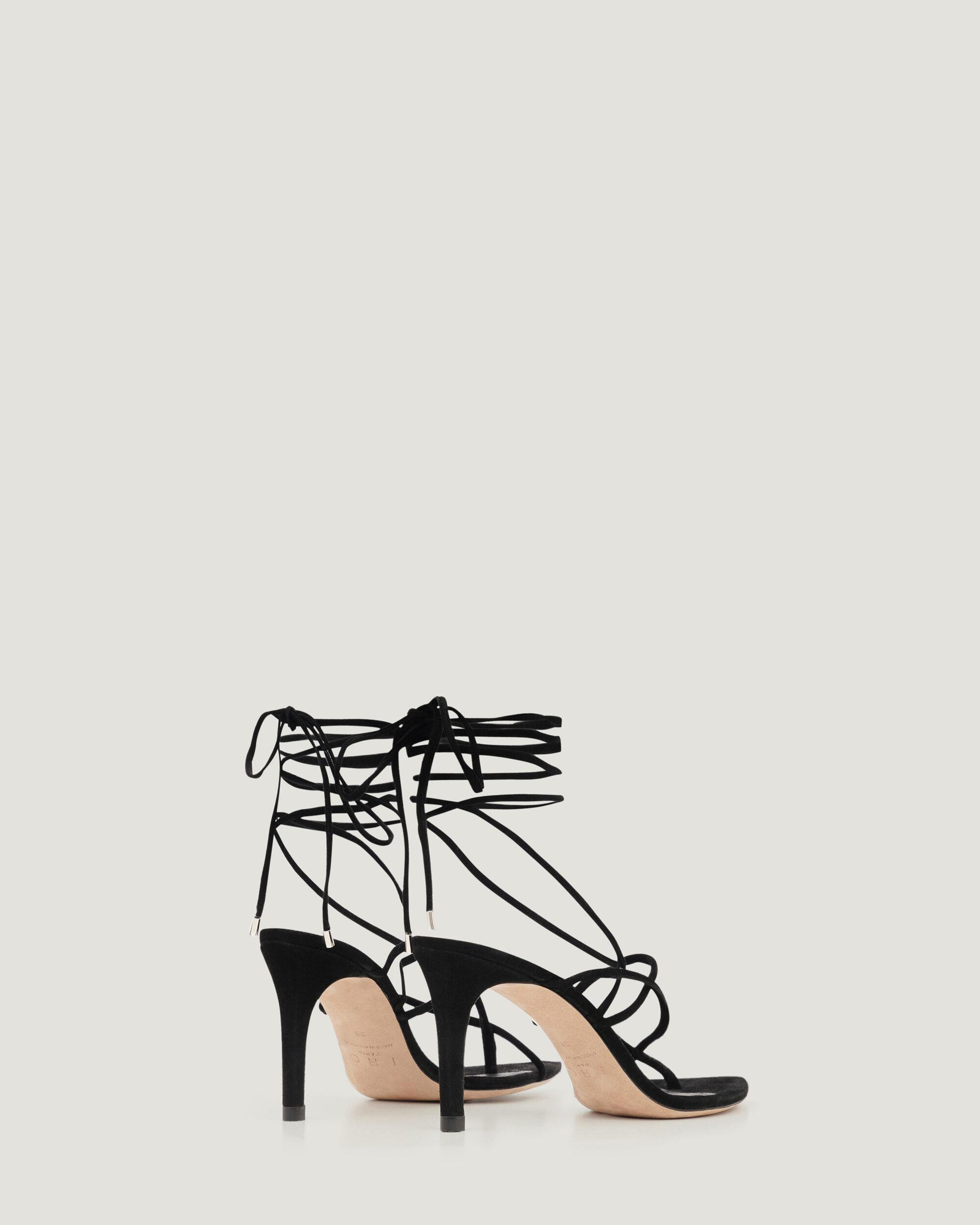 THEMIS LACE UP SUEDE HEELED SANDALS 2