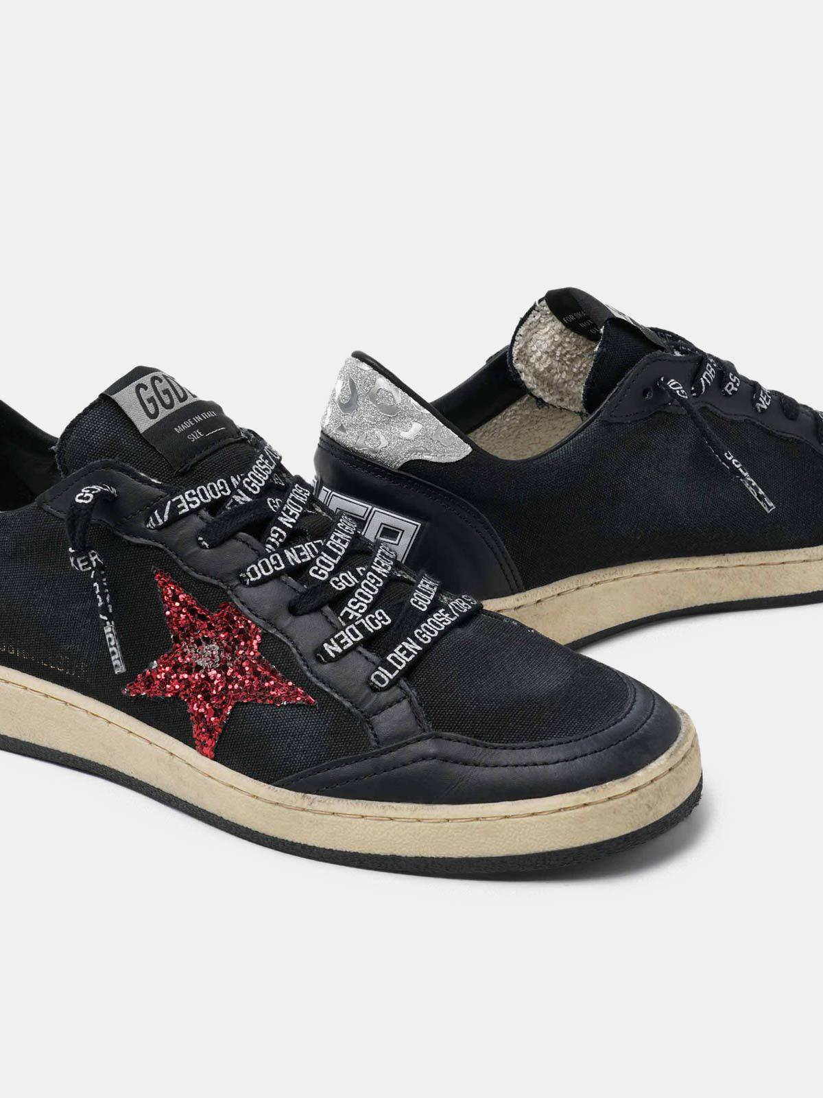Black Ball Star sneakers with glittery purple star 3