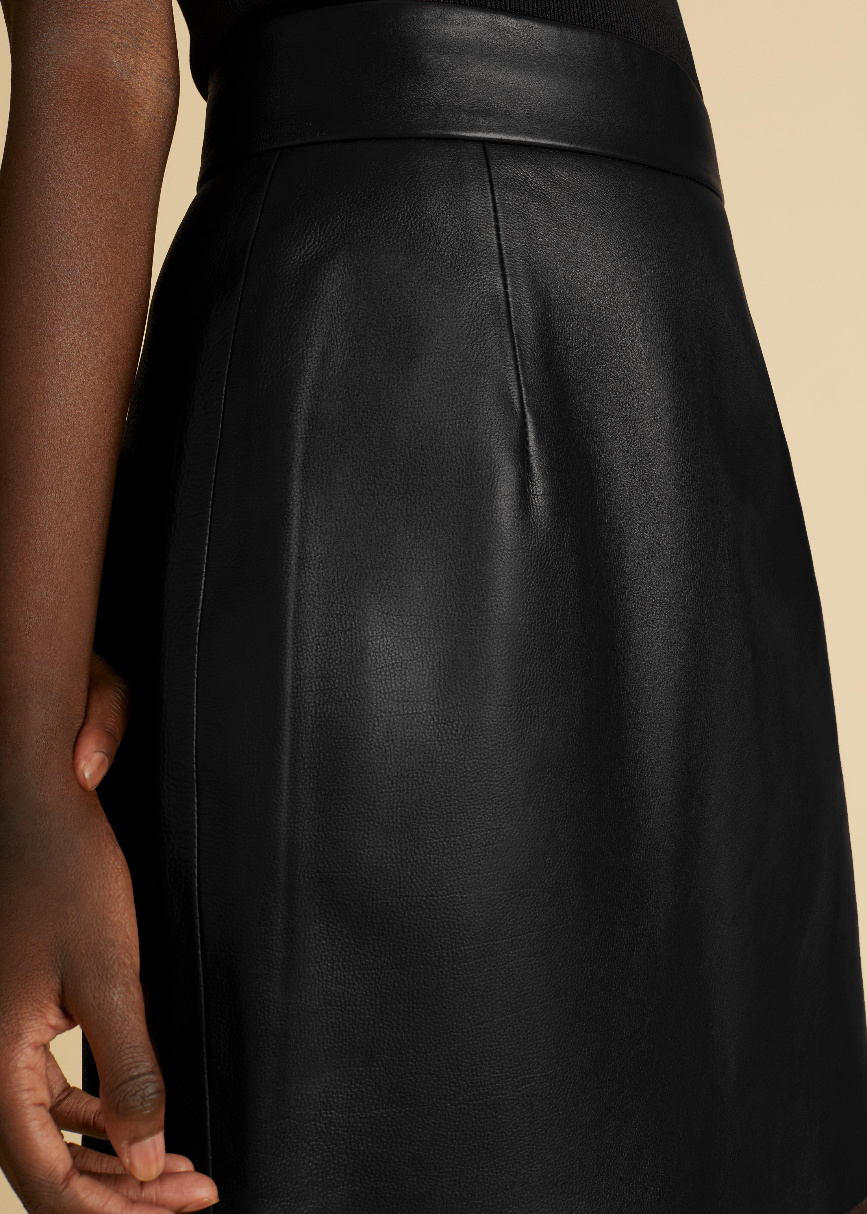 The Eiko Skirt in Black Leather 4