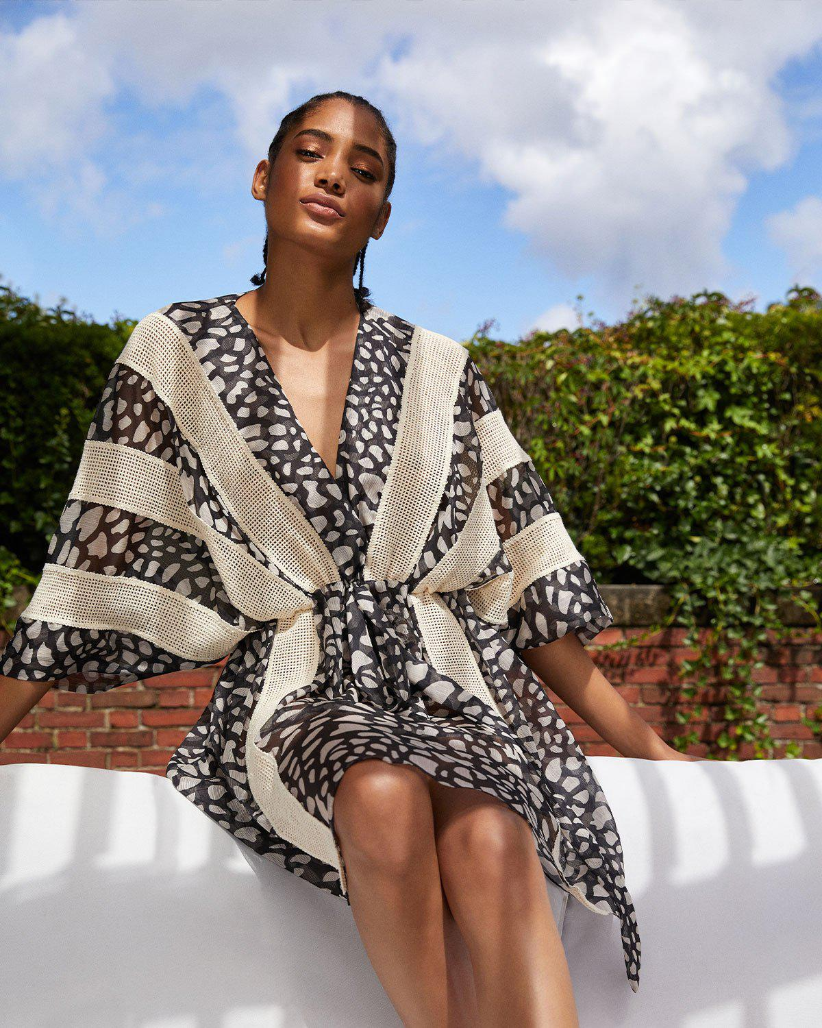 SPOTTED LACE TRIM COVERUP 0