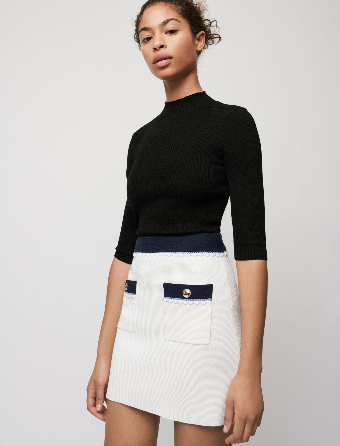 STRAIGHT-CUT CONTRASTING KNIT SKIRT
