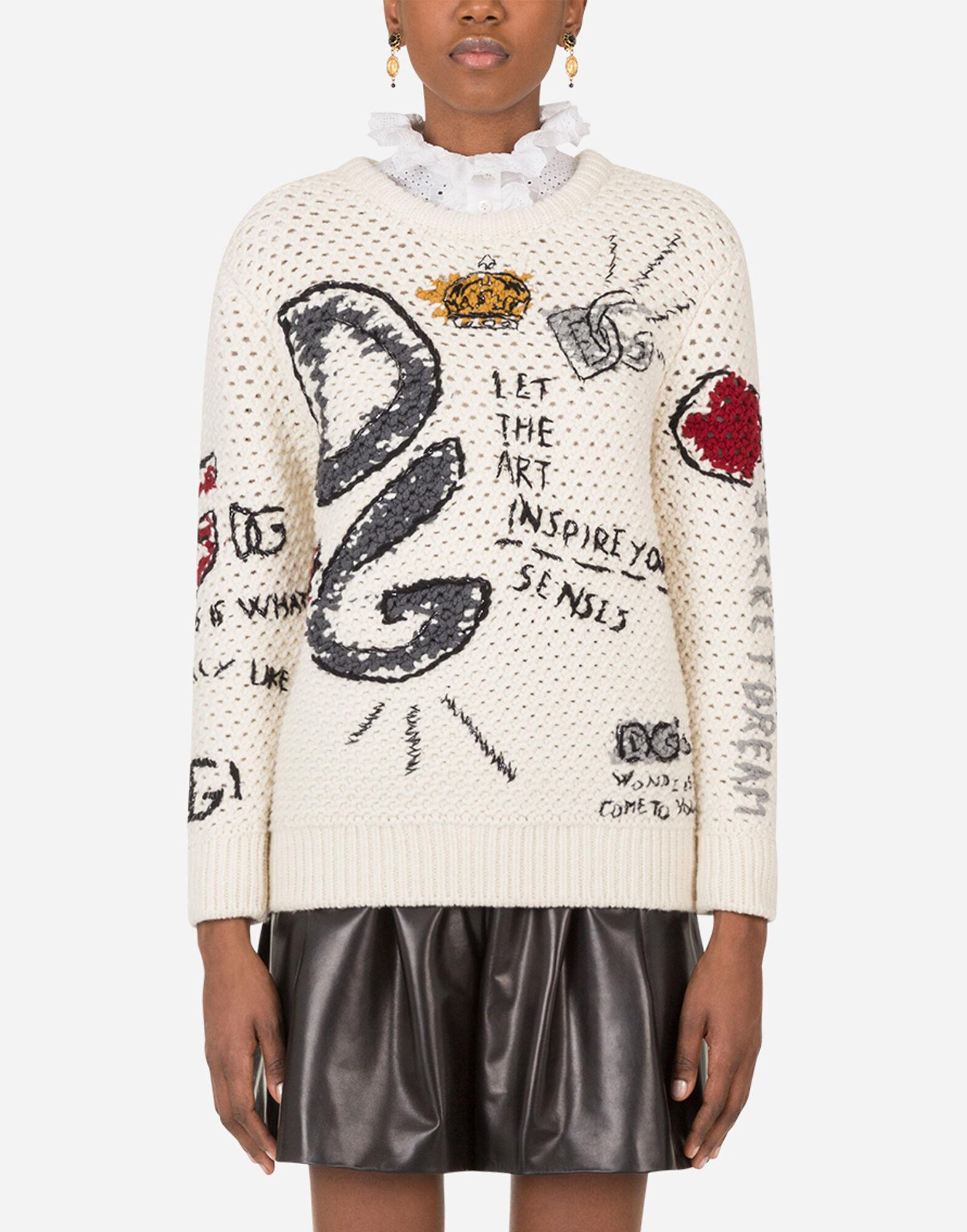 Round-neck wool sweater with intarsia and embroidery