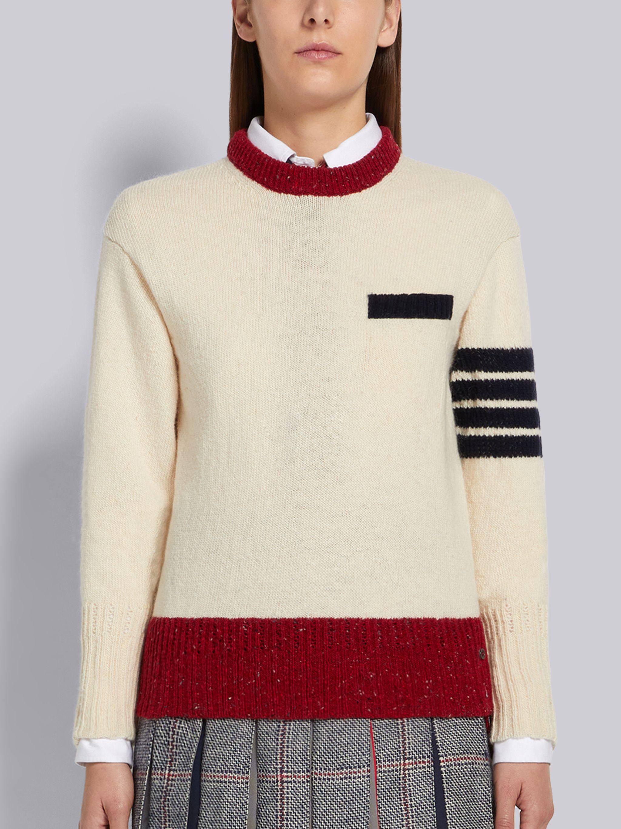 White Jersey Stitch Mohair Tweed 4-Bar Pullover