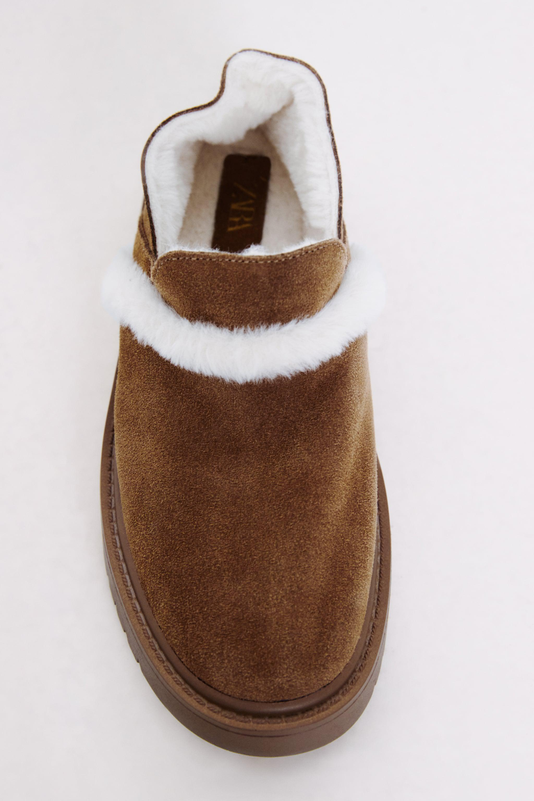 FAUX FUR LINED LOW HEELED LEATHER SHOES 8