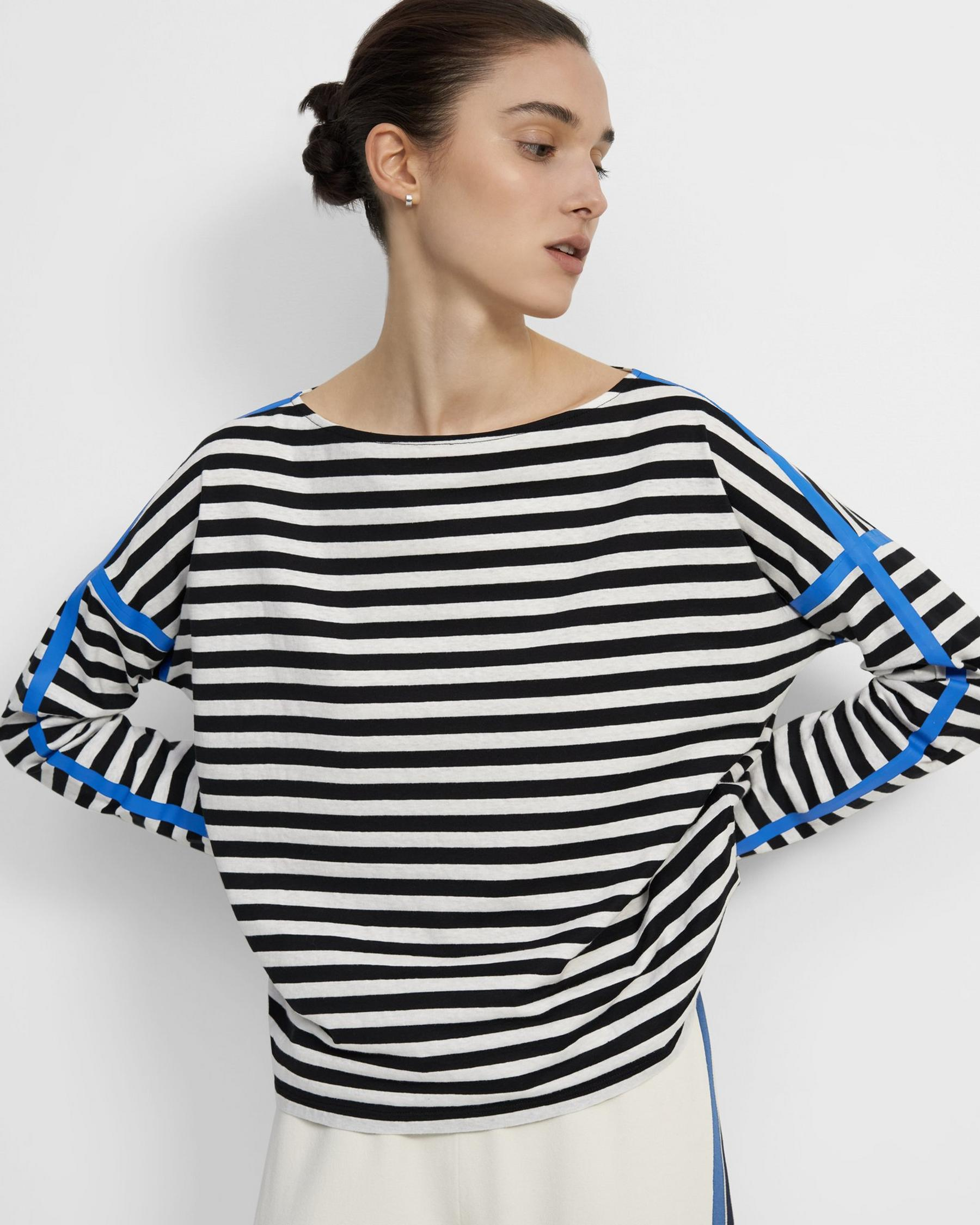 Long-Sleeve Straight Tee in Striped Cotton