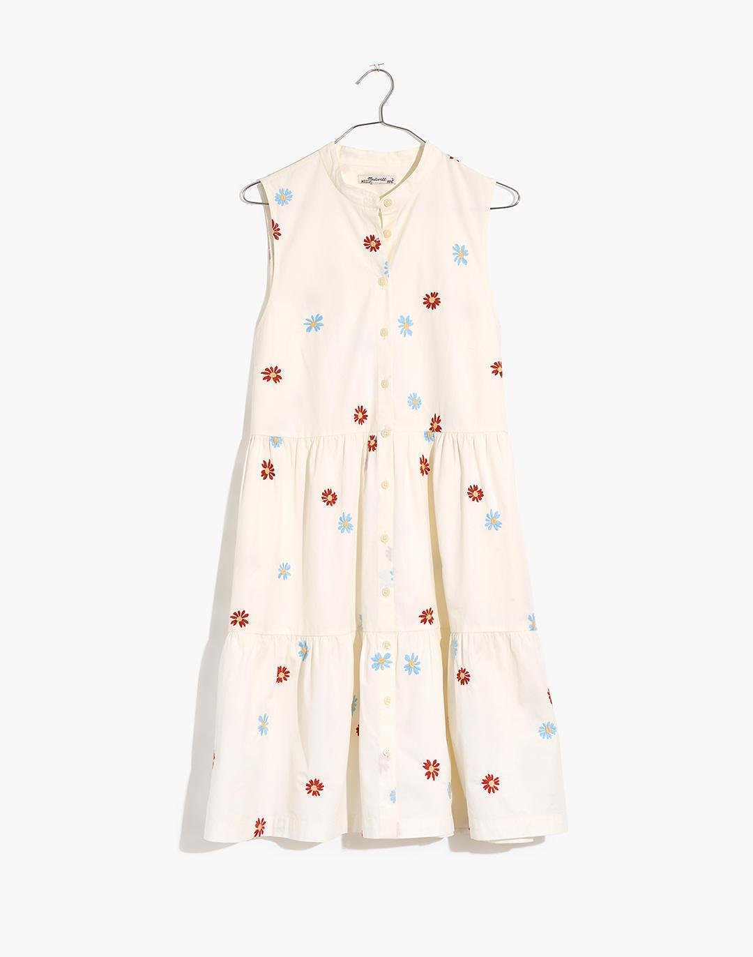 Daisy Embroidered Banded-Collar Tiered Dress 5