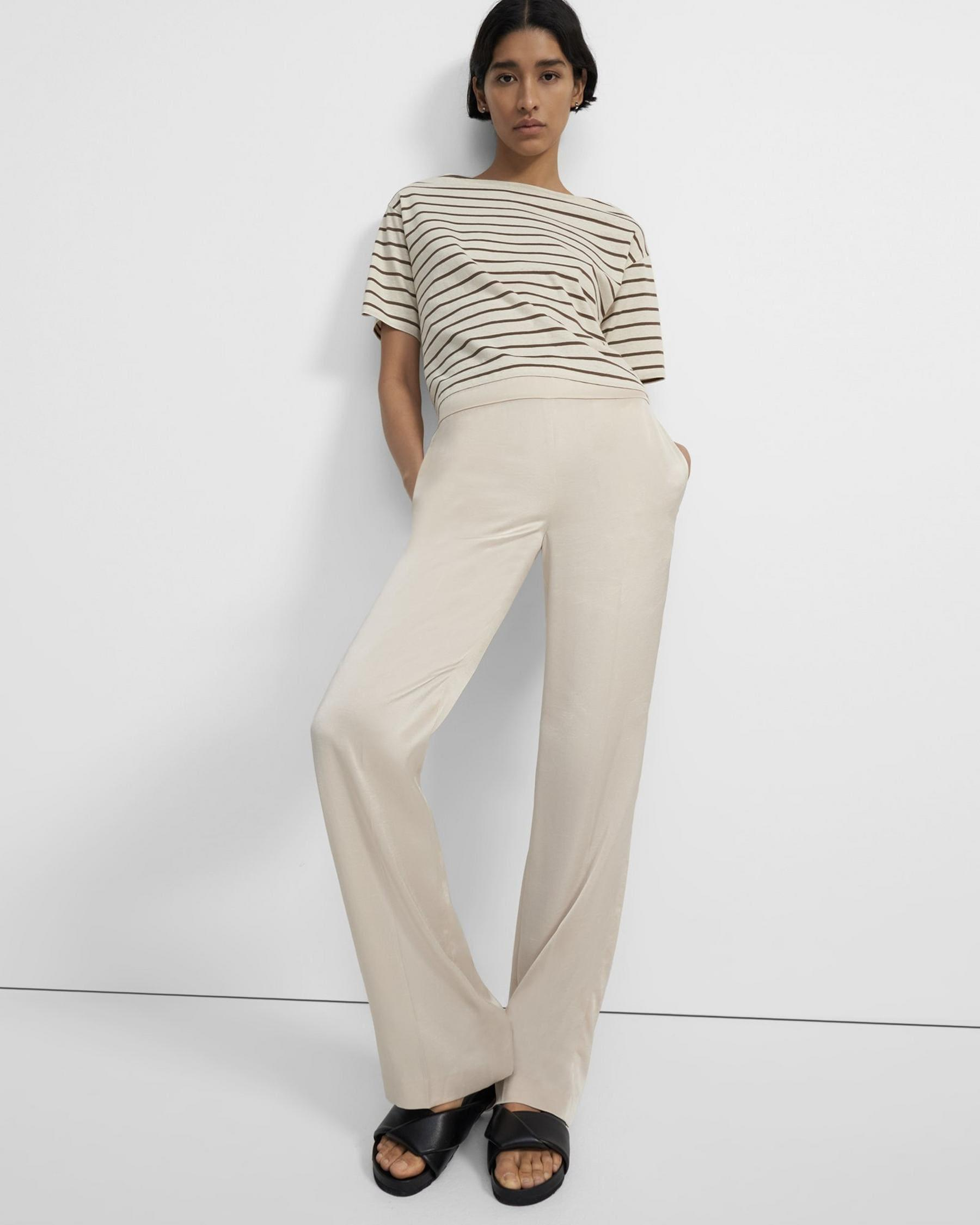 Straight-Leg Pull On Pant Pant in Crushed Satin