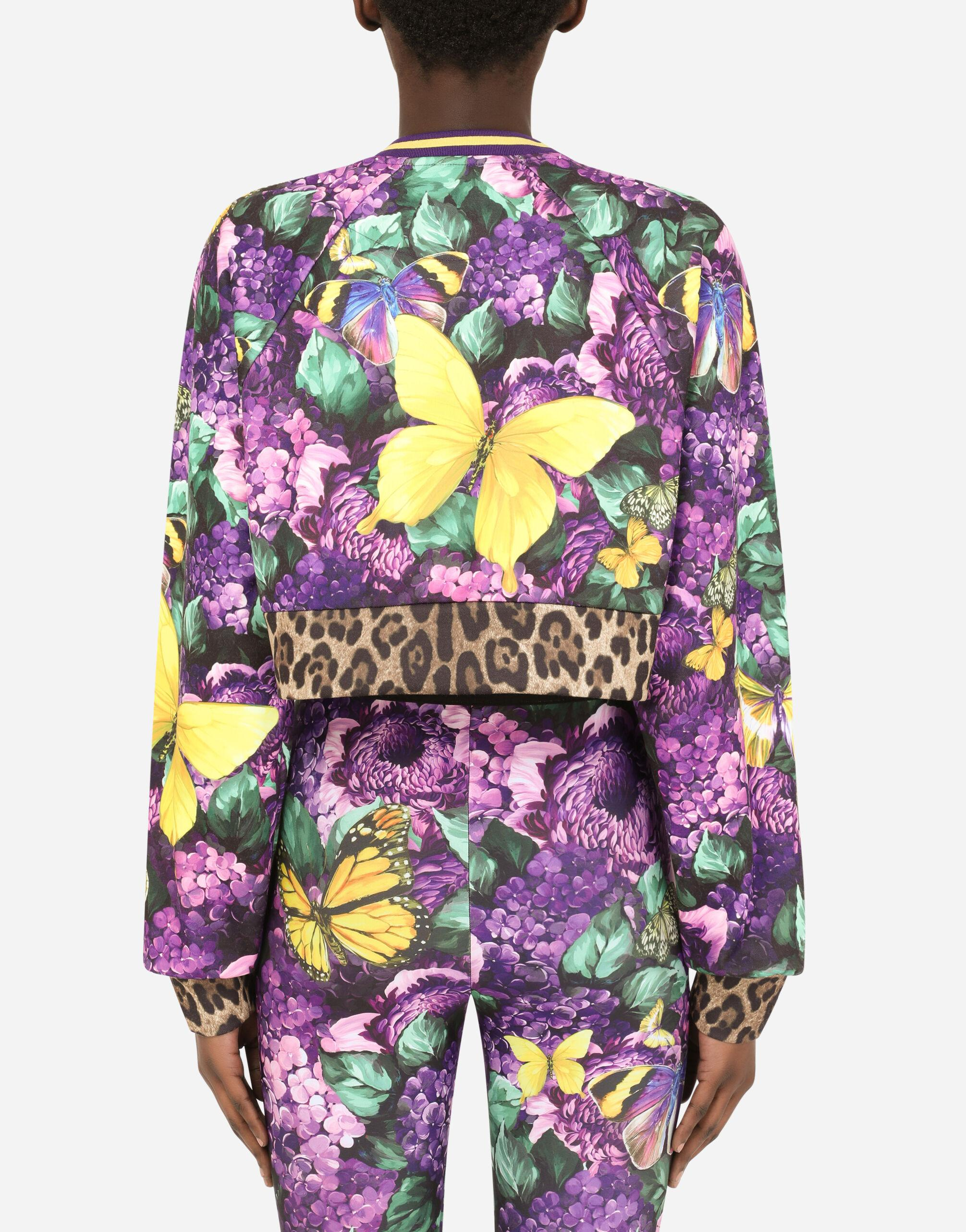 Round-neck jersey sweatshirt with butterfly print 6