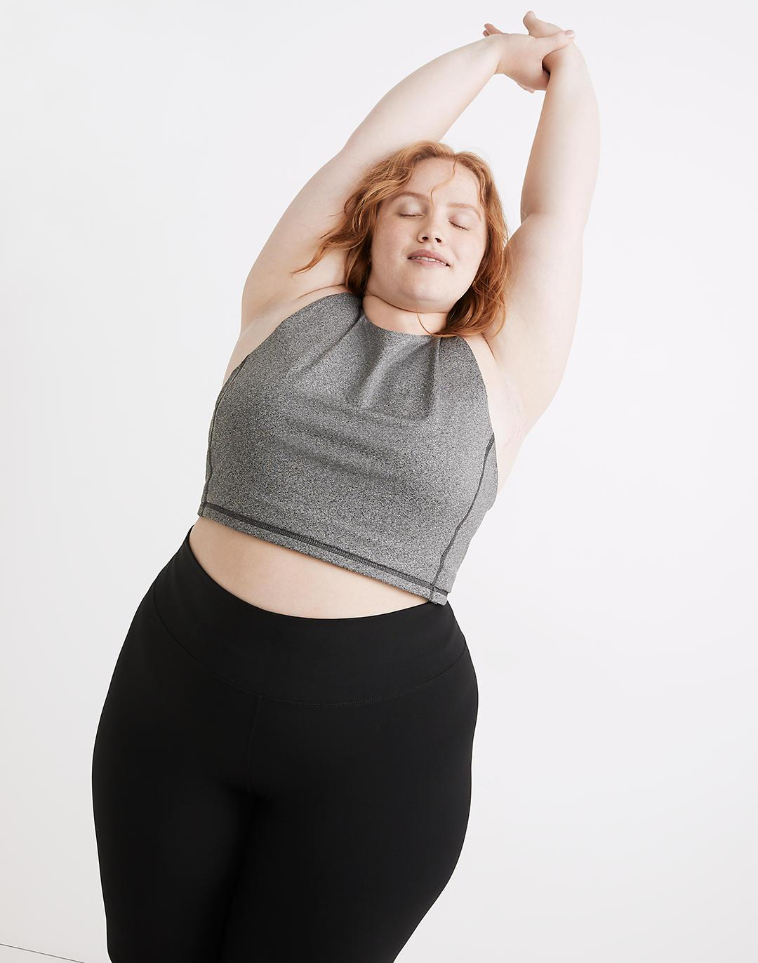 Plus MWL Form Racerback Crop Top in Heathered Charcoal