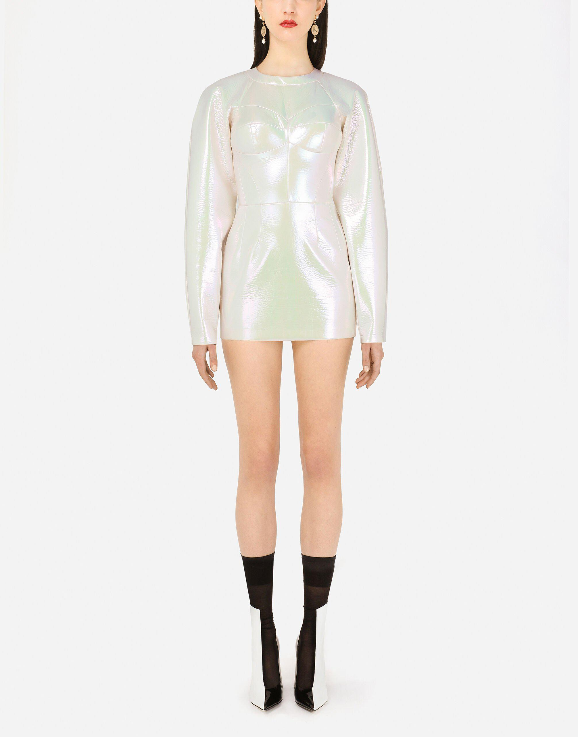 Holographic-effect technical jersey minidress